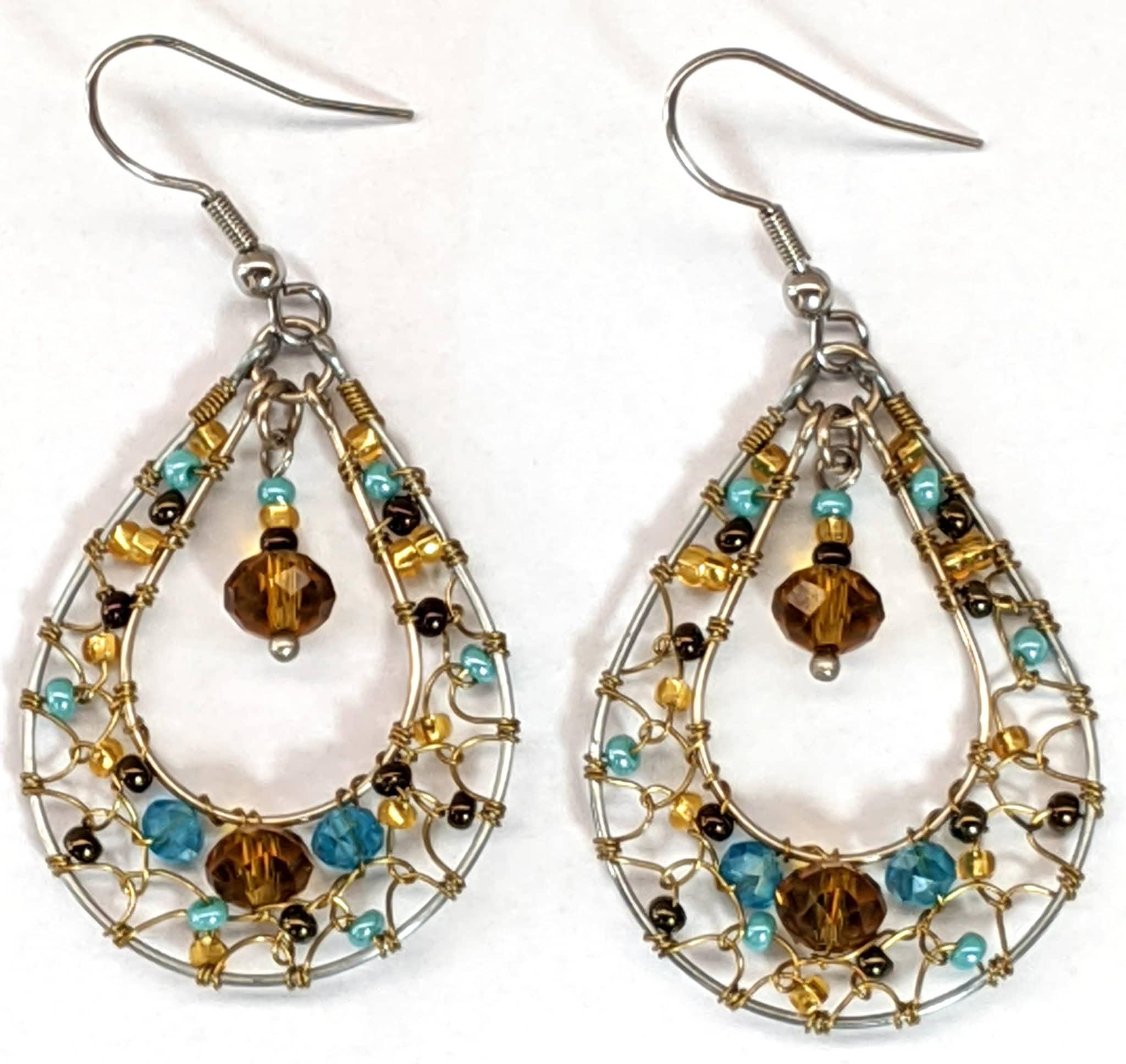 Teardrop Dreamcatcher Beaded Earrings - Turquoise and Copper