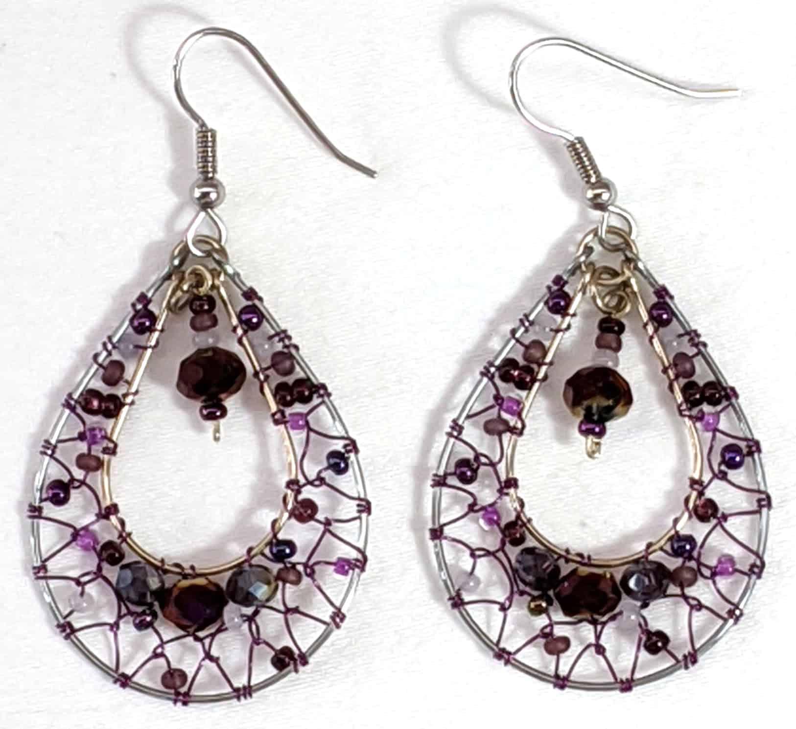 Teardrop Dreamcatcher Earrings - Purples