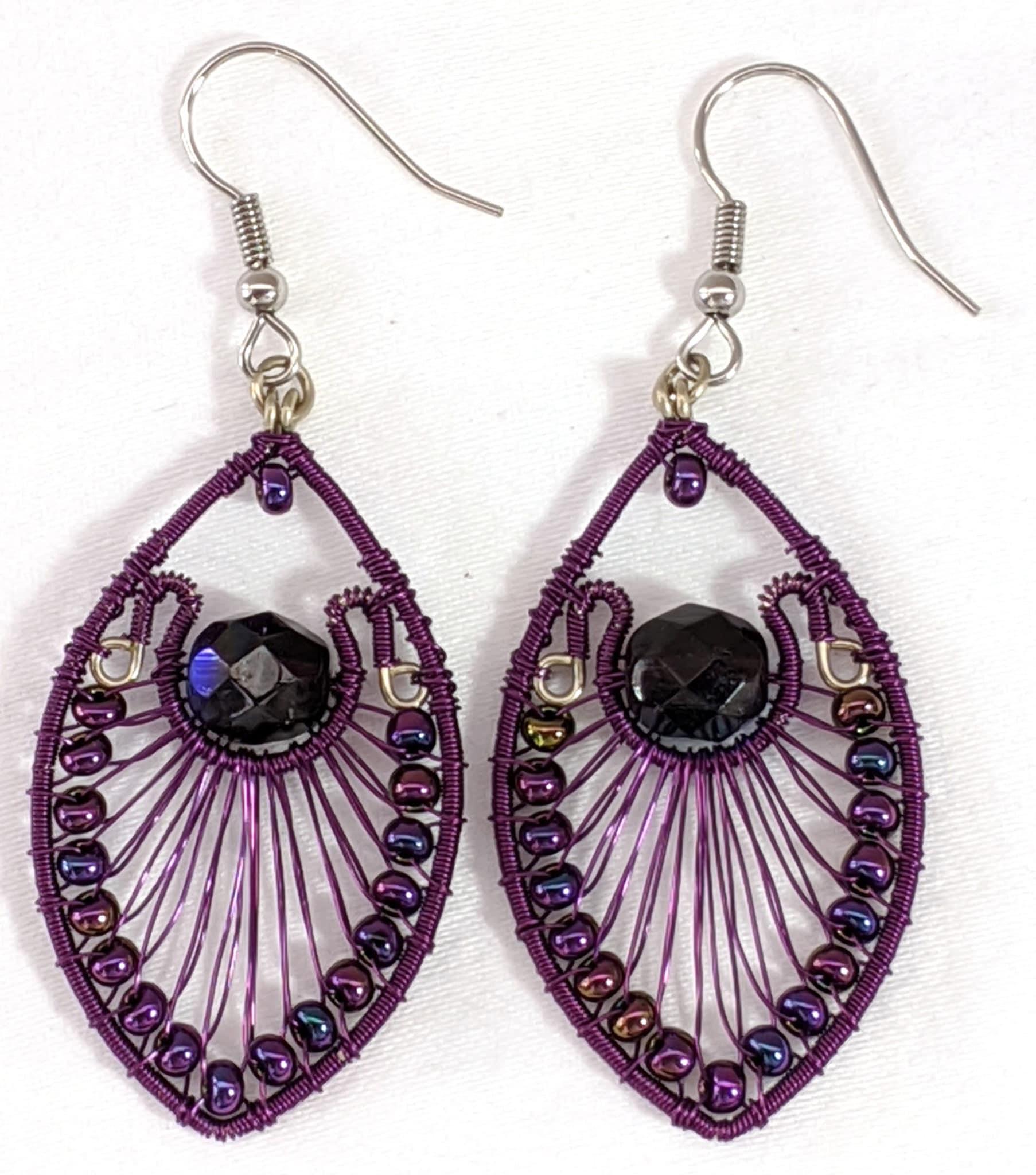Peacock Earrings - Purple