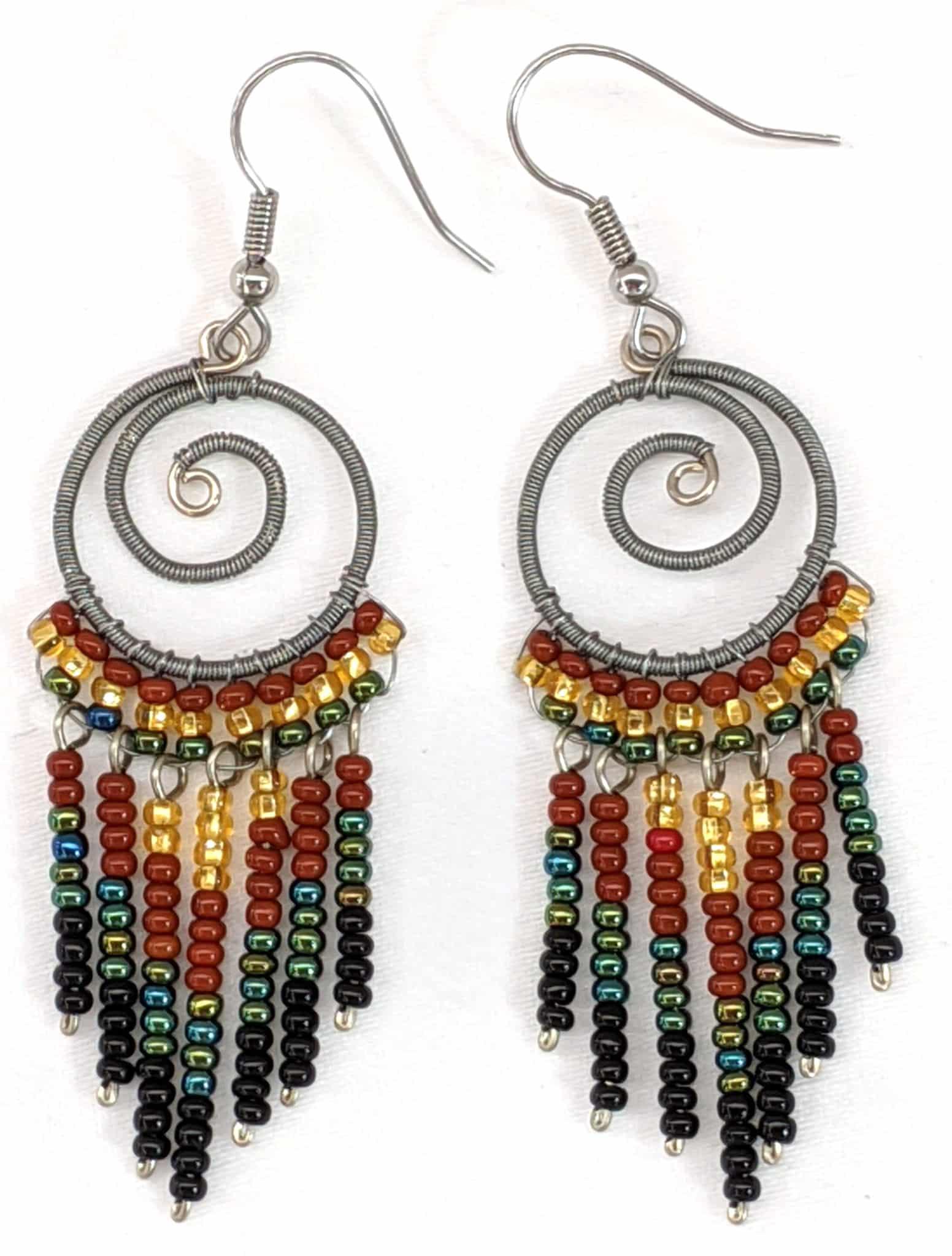 Spiral Fringe Earrings - Sophisticated Autumn