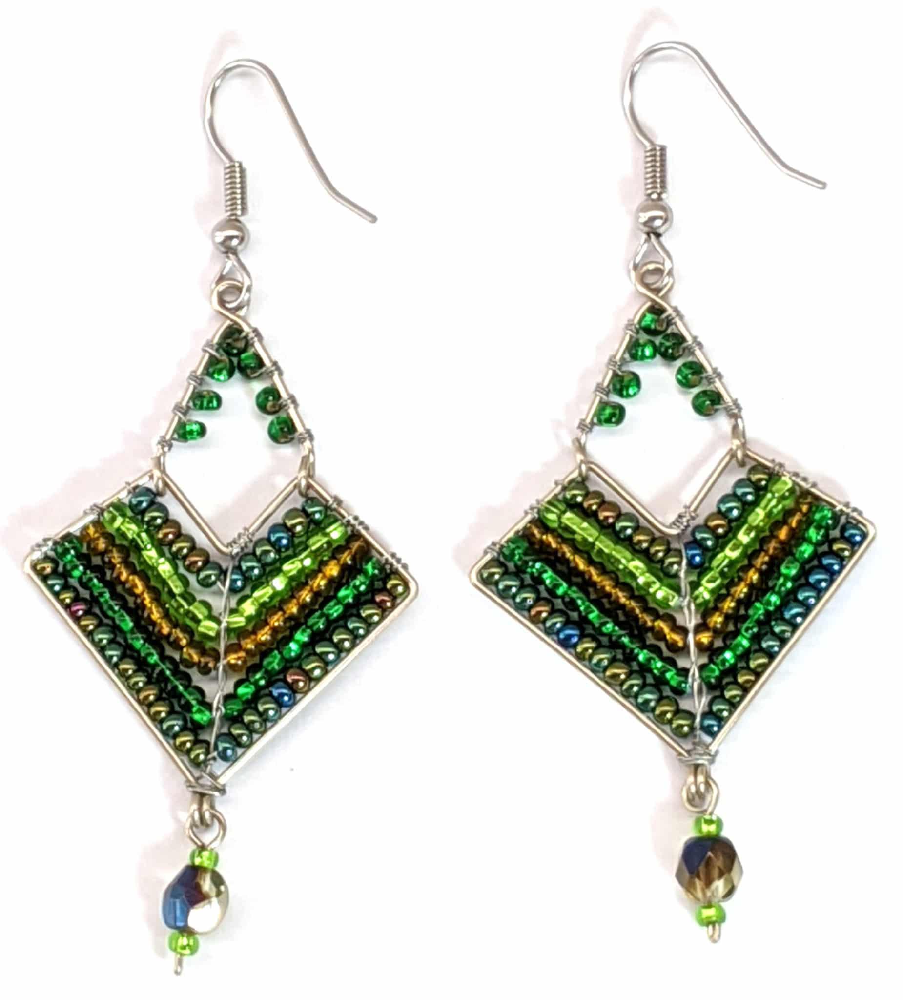 Chevron Earrings - Greens