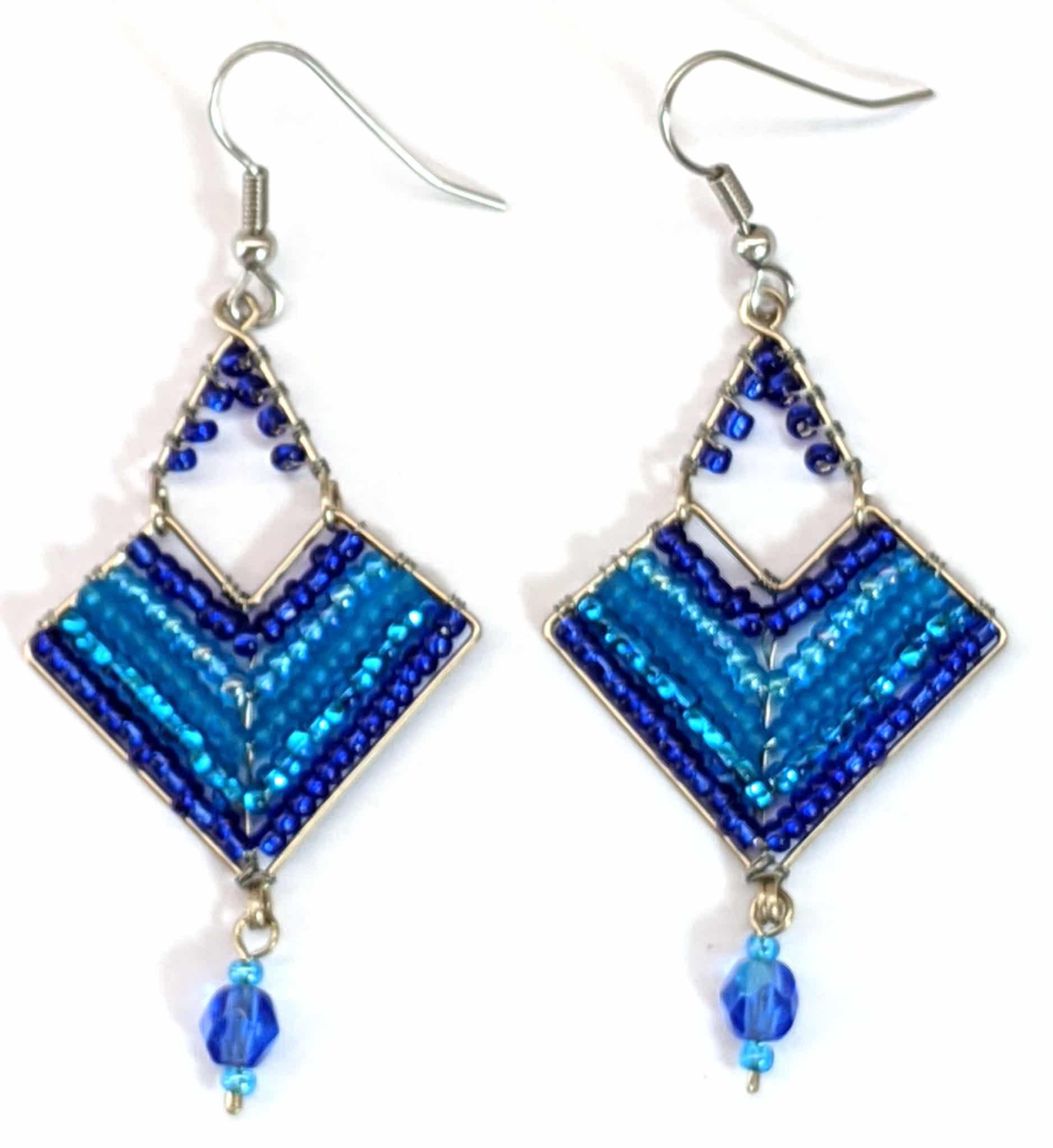 Chevron Earrings - Blues