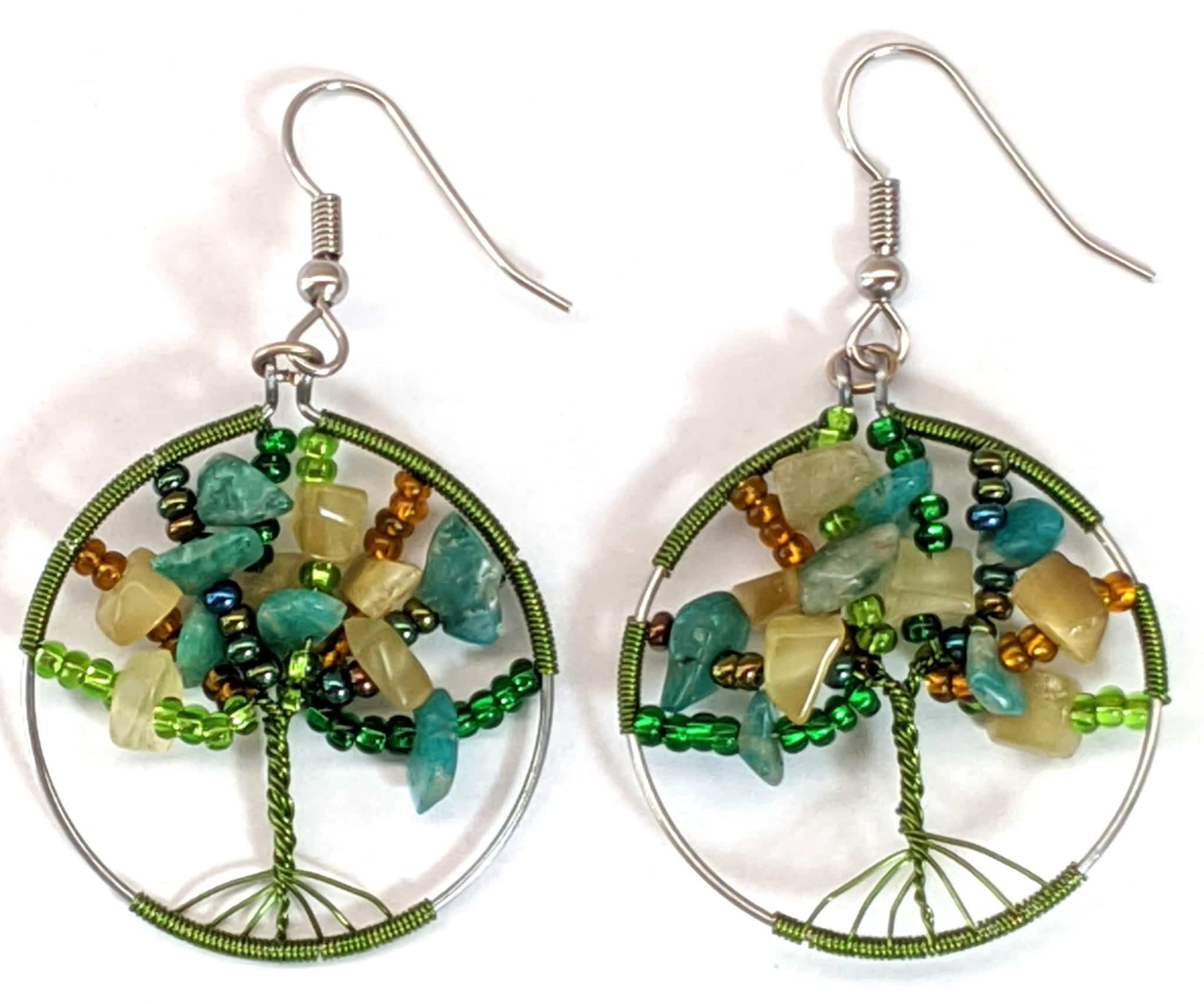 Tree of Life Beaded Earrings - Forest Greens