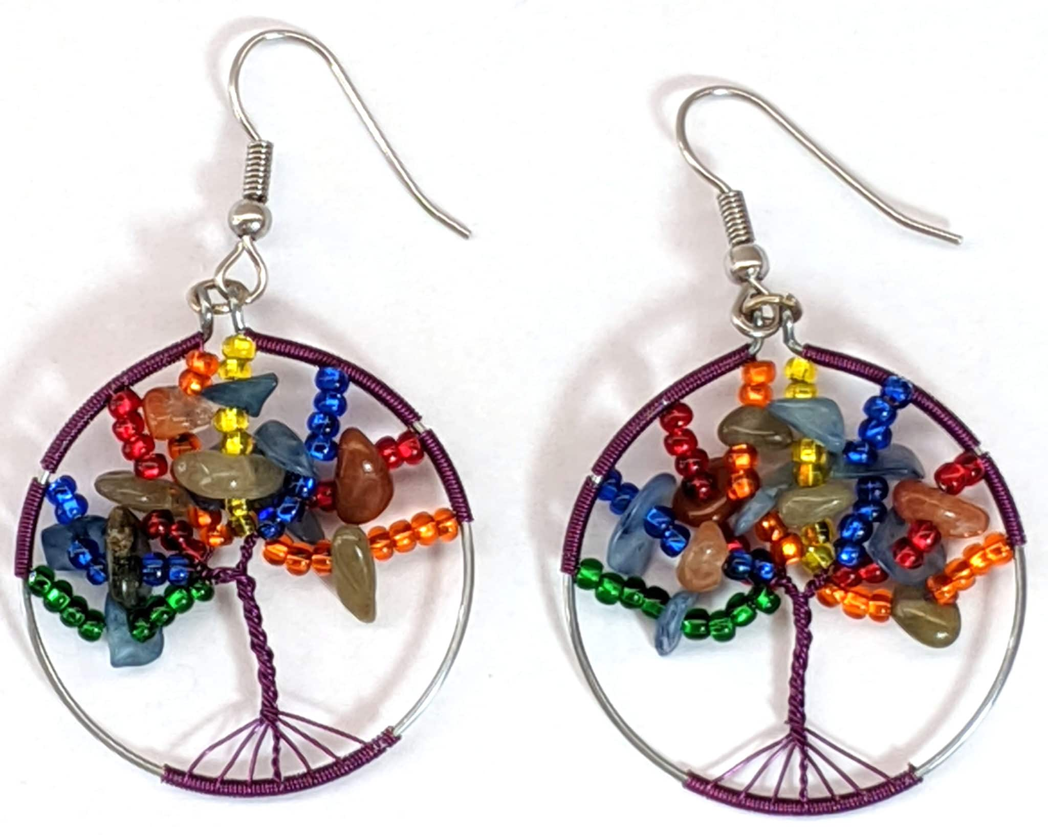Tree of Life Beaded Earrings - Rainbow