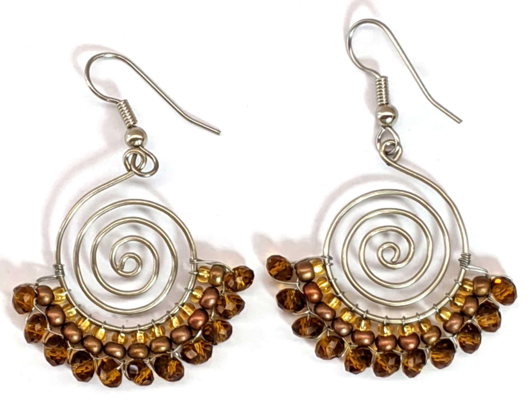 Spiral Skirt Beaded Earrings - Golds