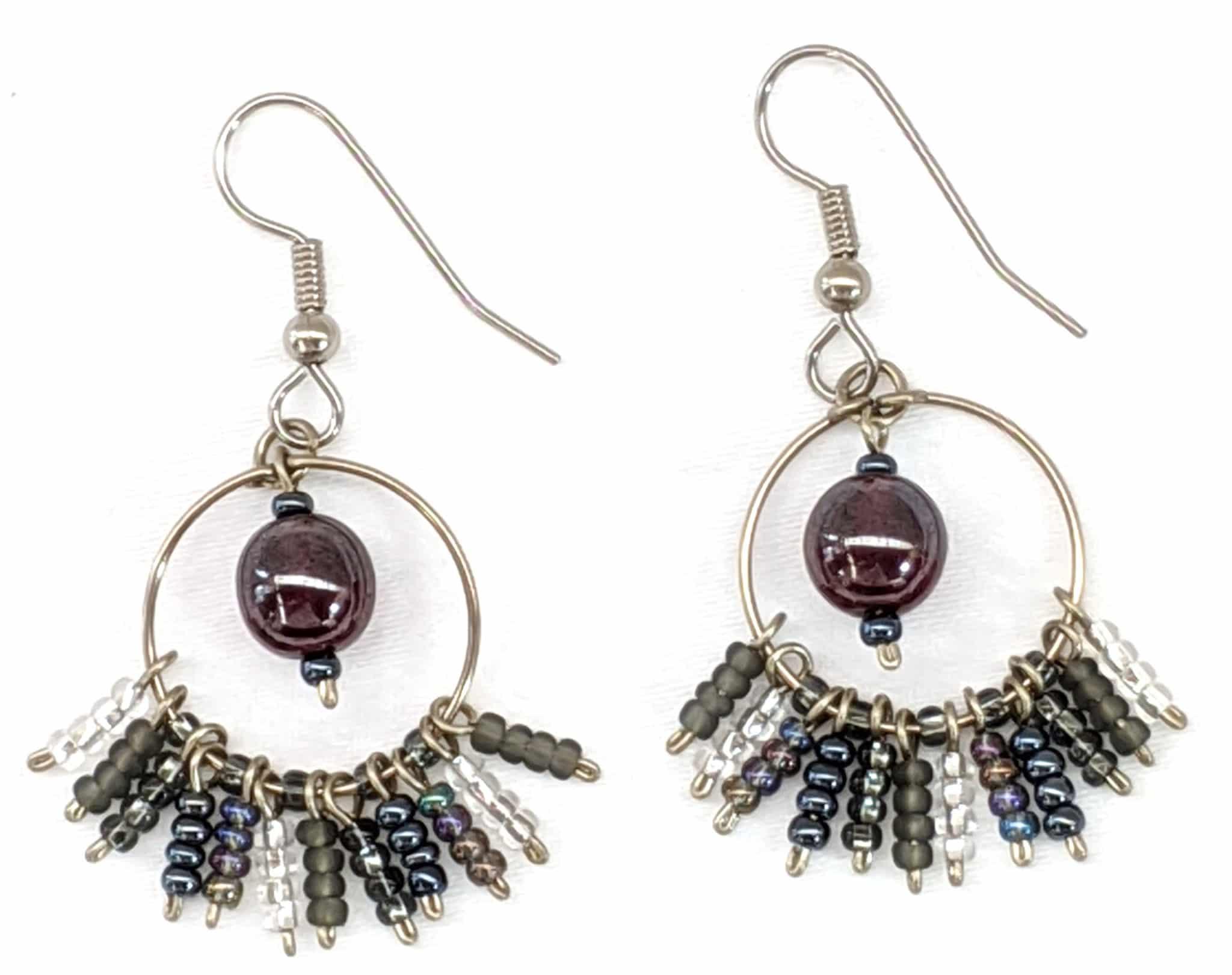 Circle Fringe Beaded Earrings - Medium Grays