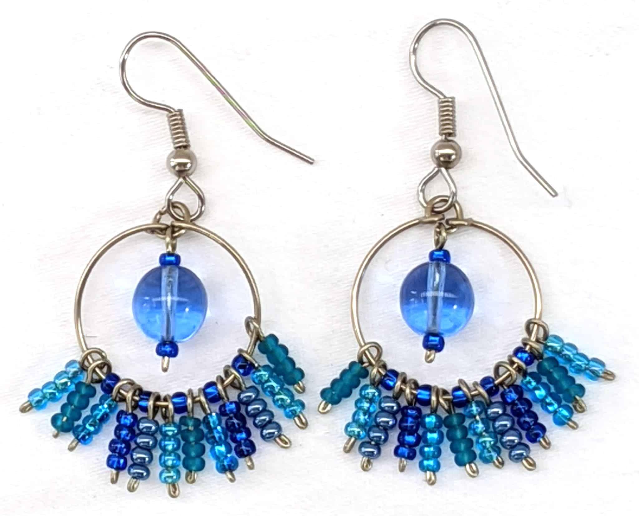 Circle Fringe Beaded Earrings - Blues
