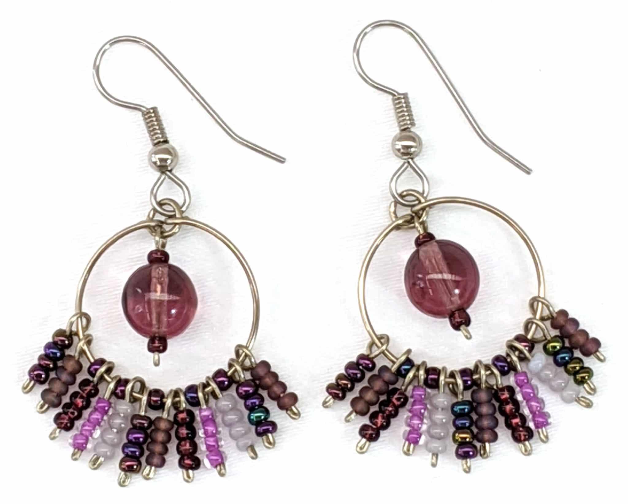 Circle Fringe Beaded Earrings - Purples