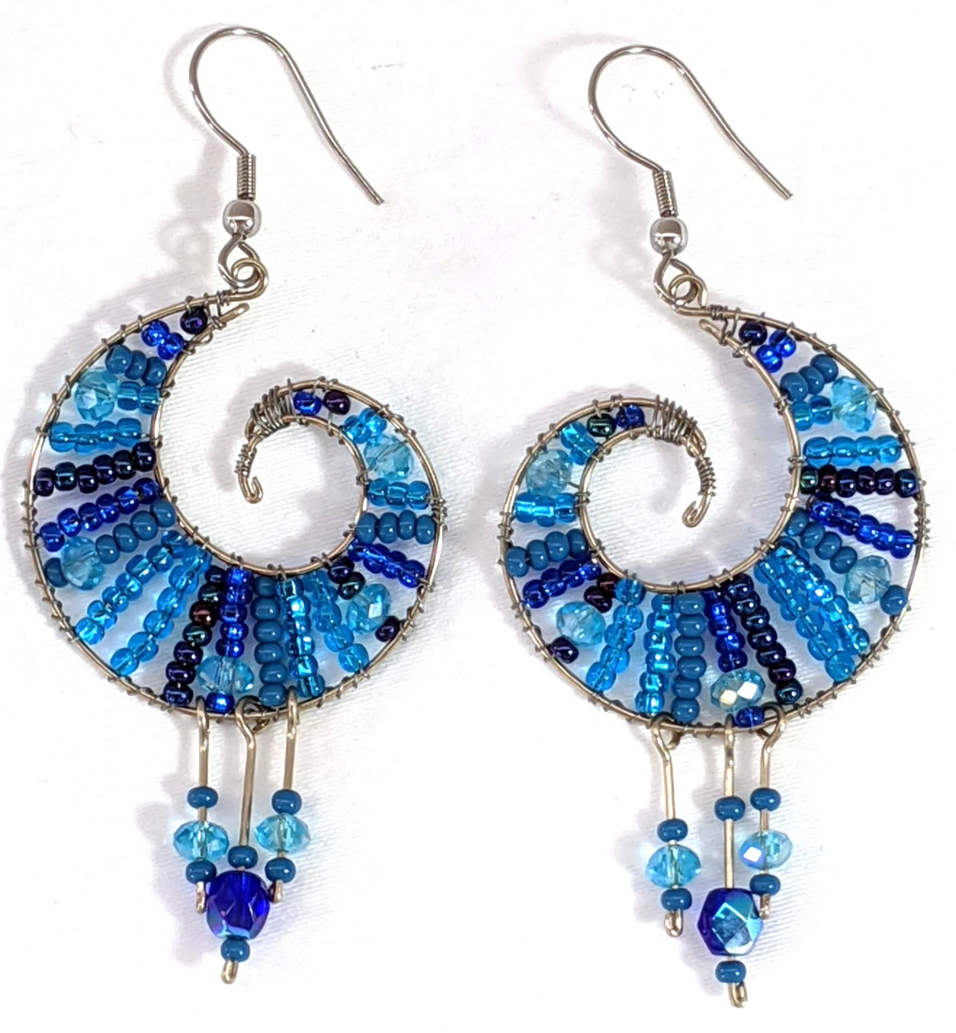Koru Beaded Earrings - Blues