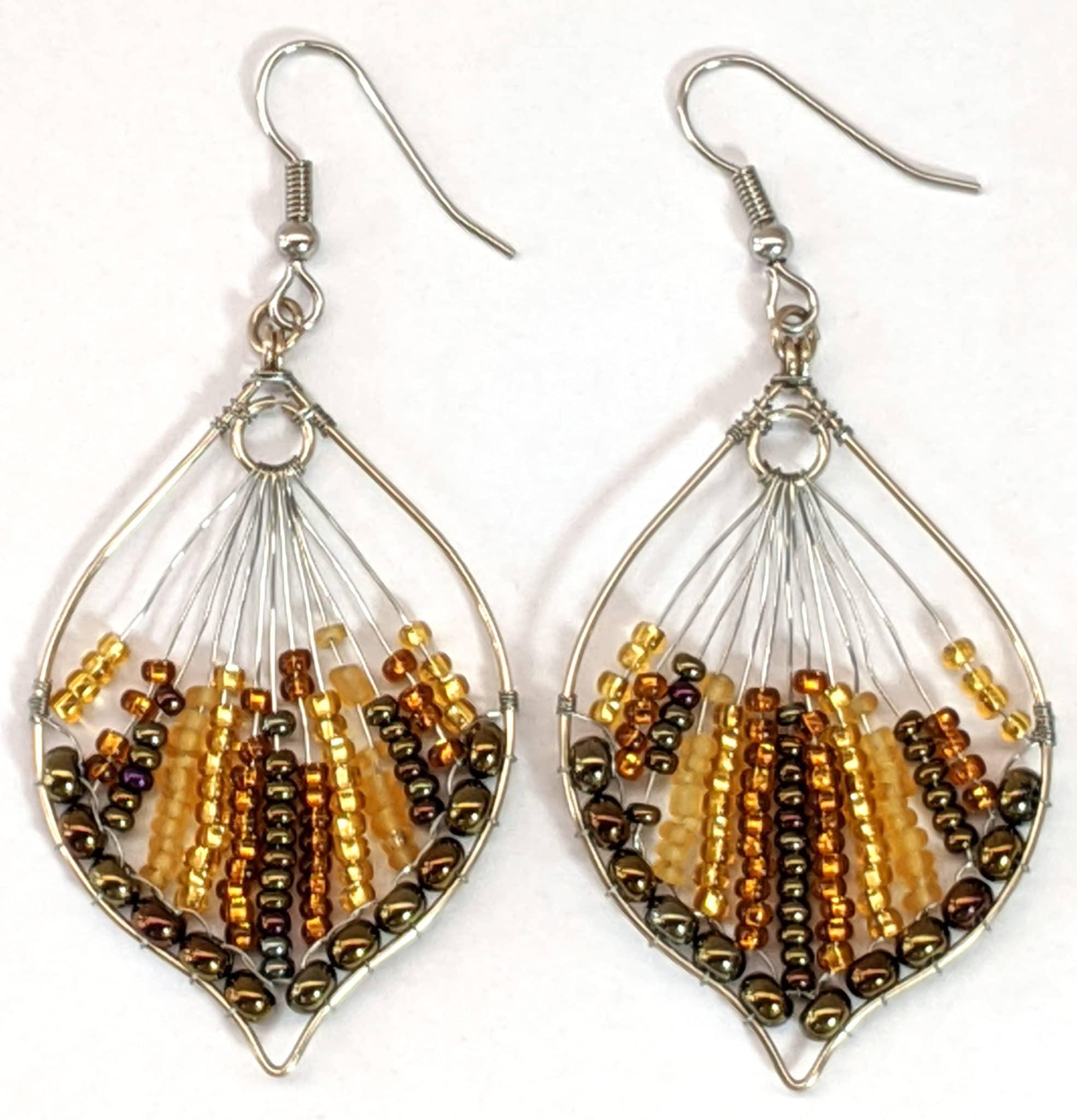 Peacock Tail Beaded Earrings - Golds