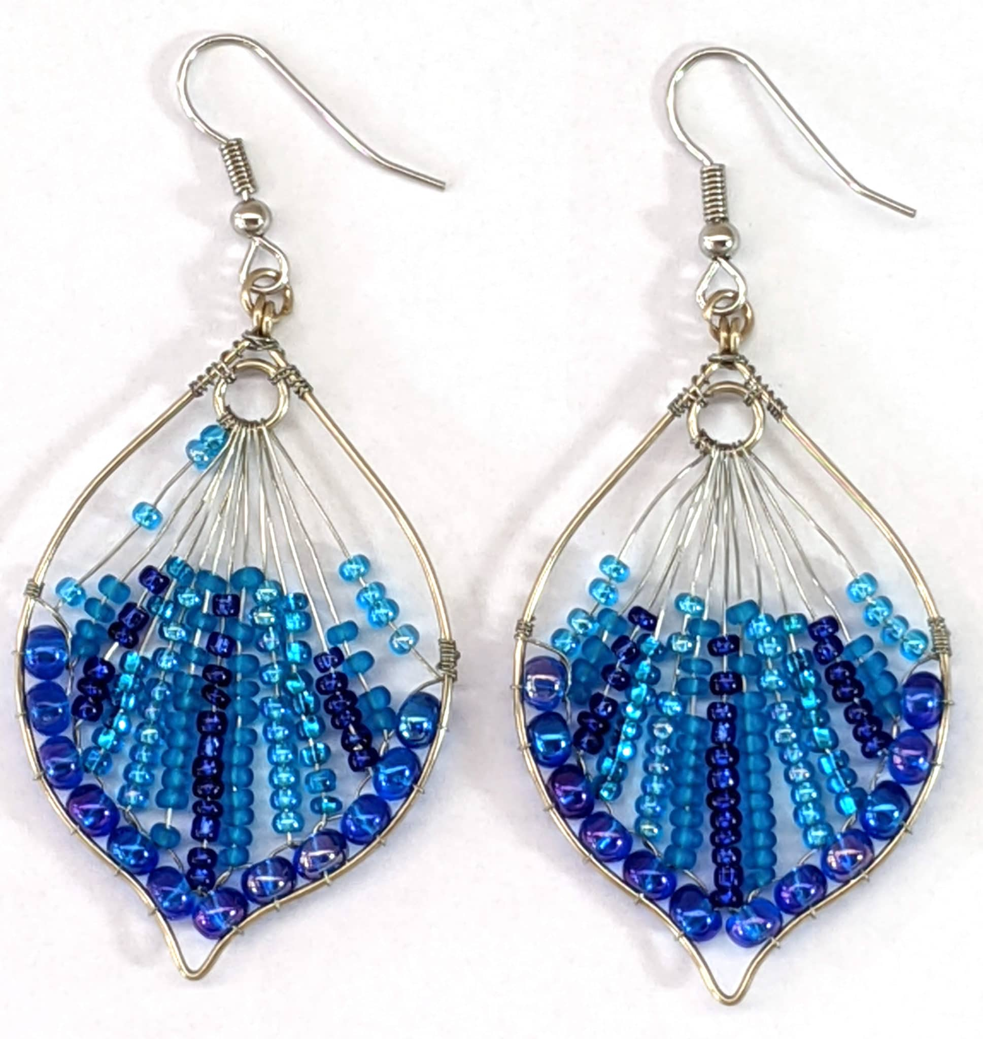 Peacock Tail Beaded Earrings - Blues