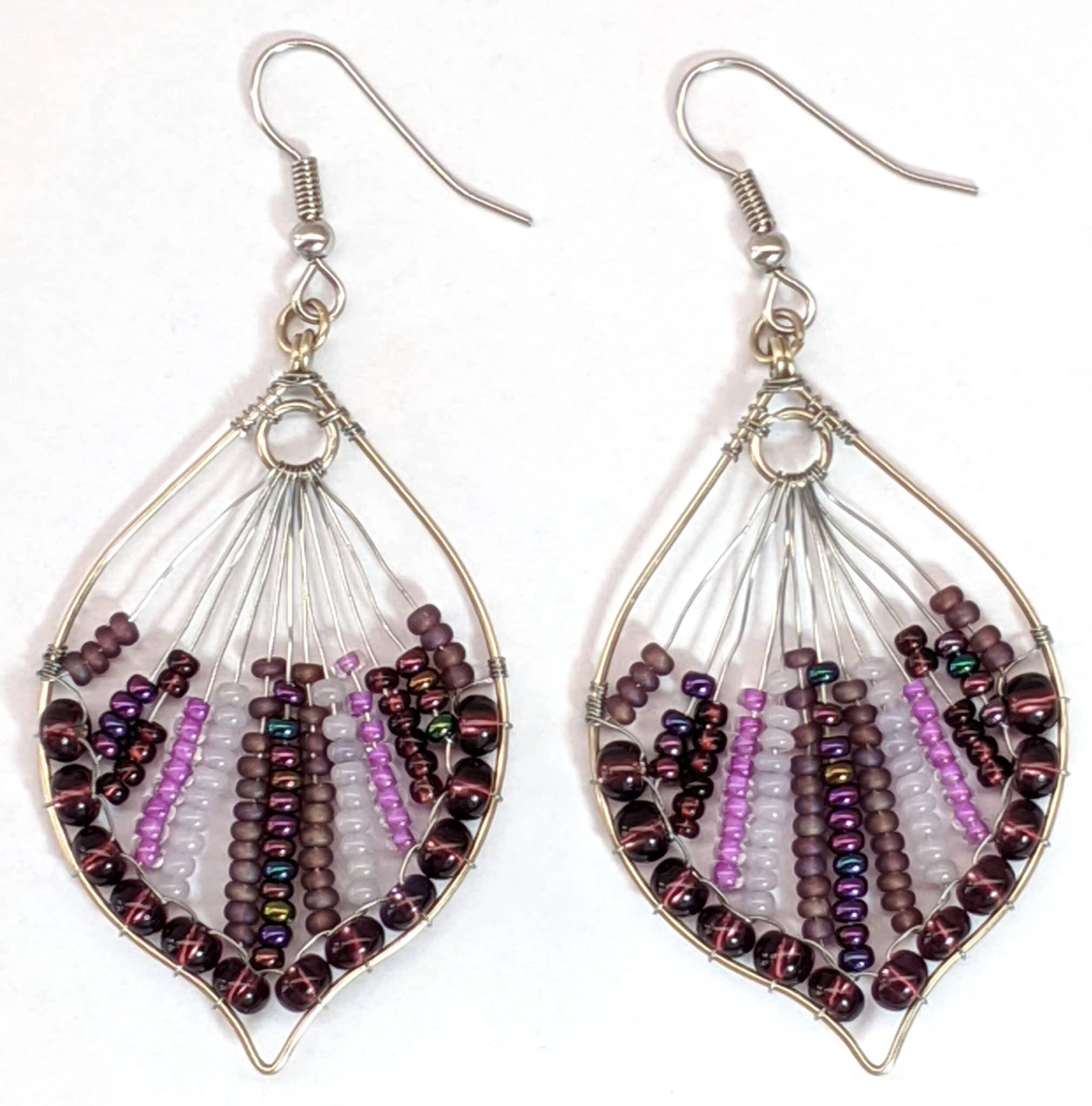 Peacock Tail Beaded Earrings - Purples