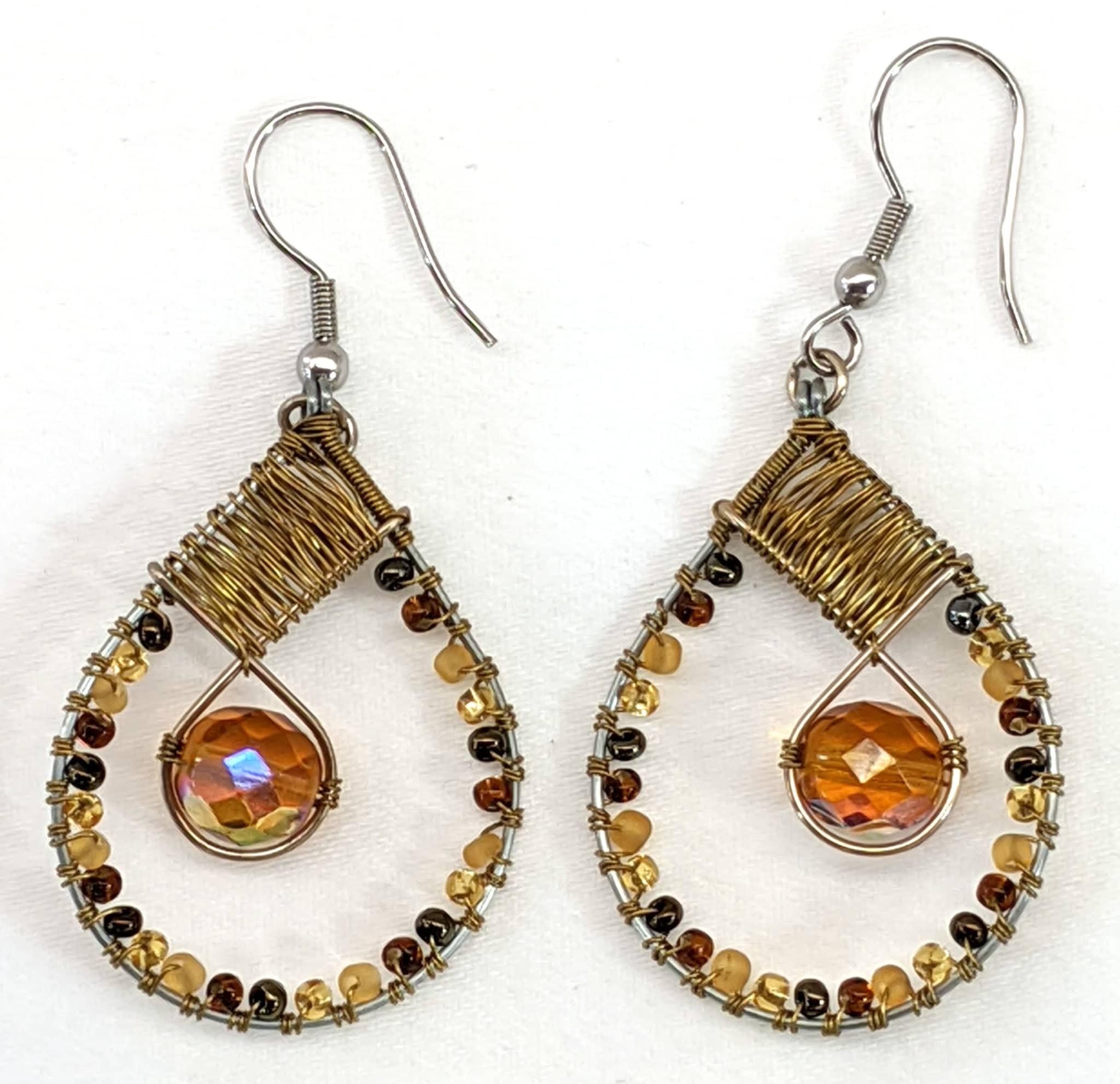 Teardrop with Crystal Beaded Earrings - Golds