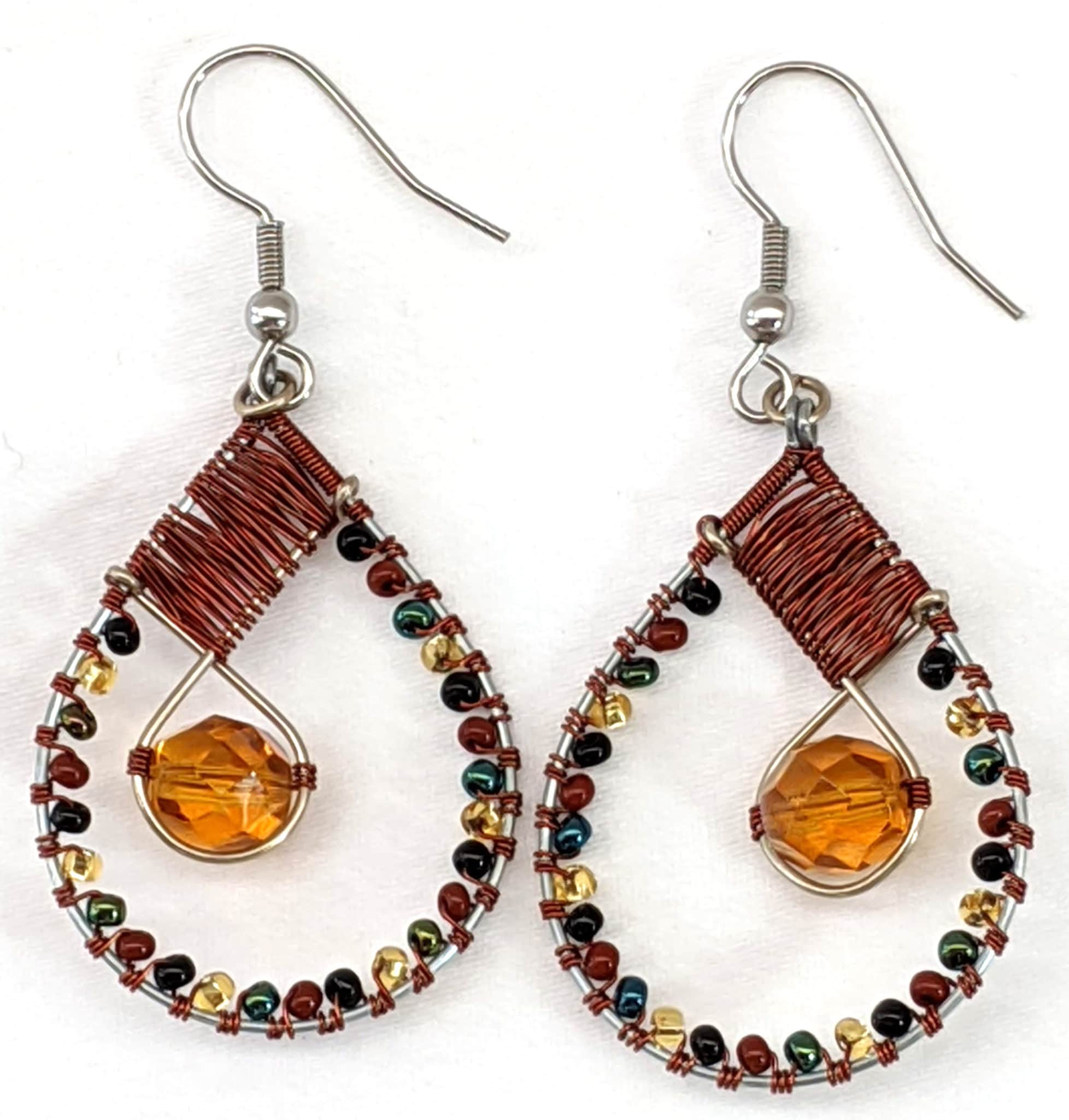 Teardrop with Crystal Beaded Earrings - Sophisticated Autumn