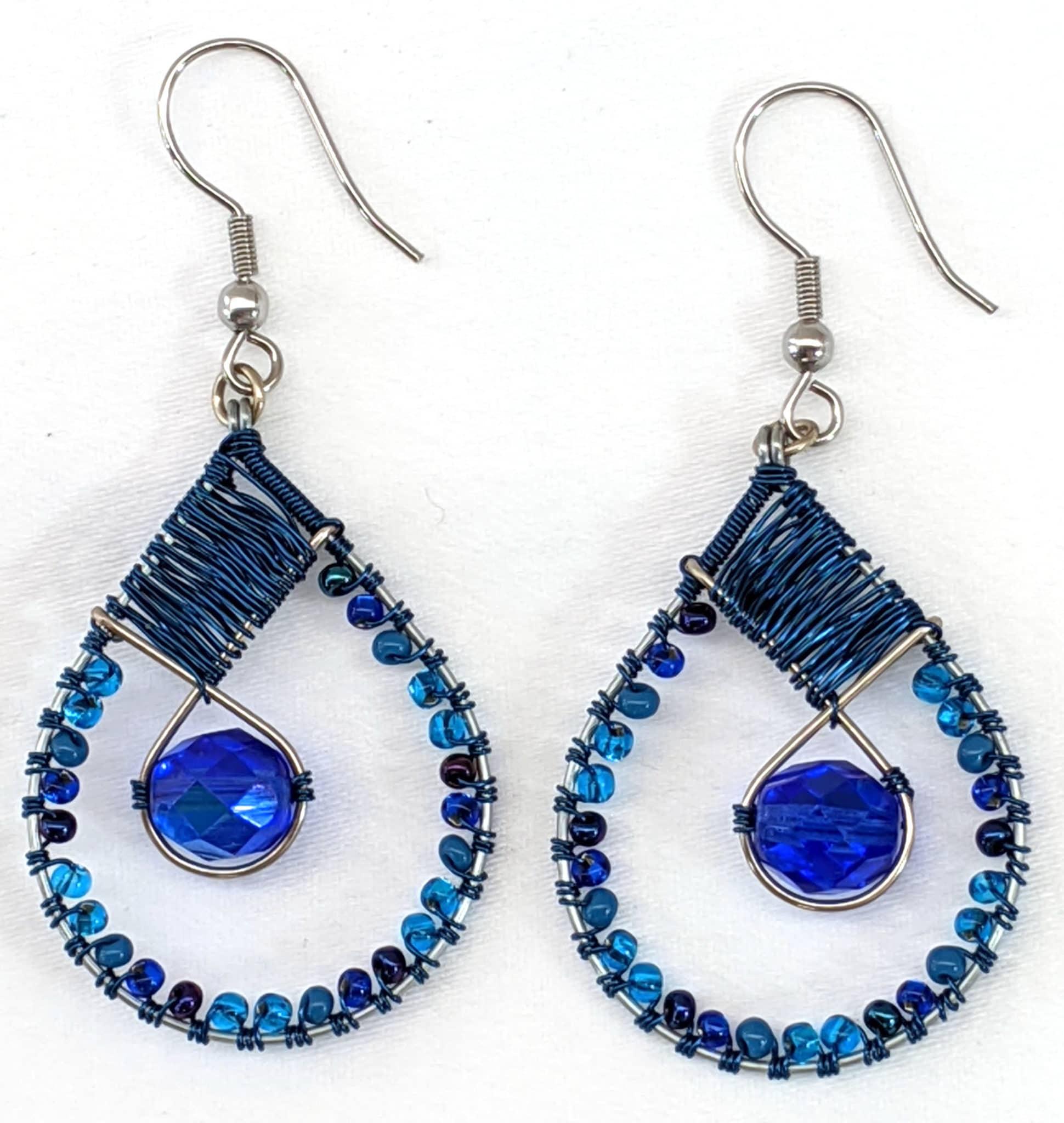 Teardrop with Crystal Beaded Earrings - Blues
