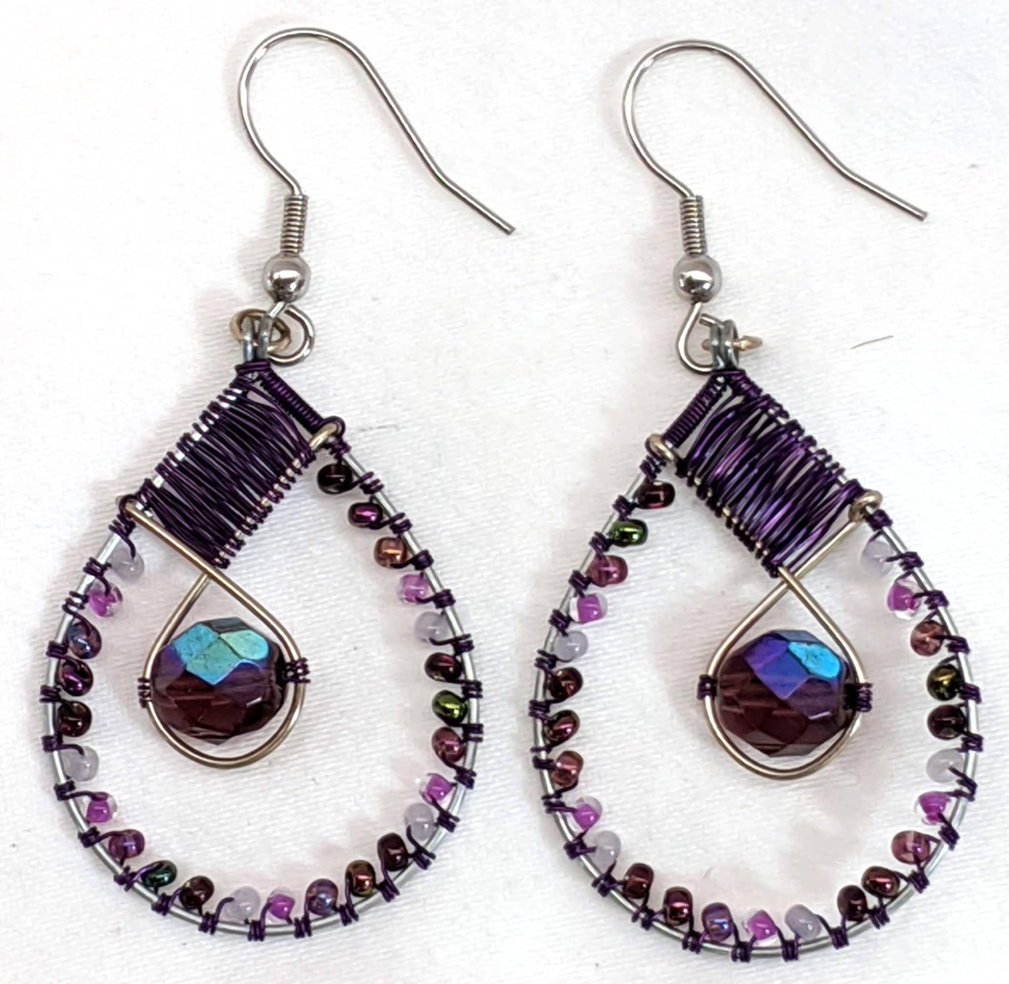 Teardrop with Crystal Beaded Earrings - Purples