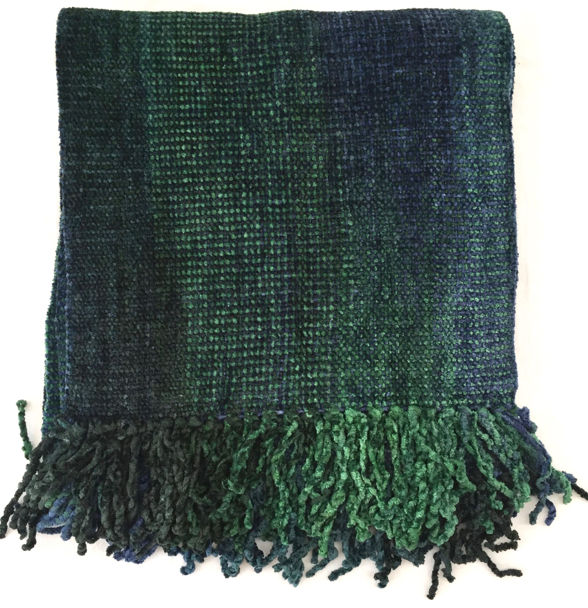 Emerald and Sapphire (Green and Blue) - Bamboo Chenille Handwoven Scarf 8 x 68