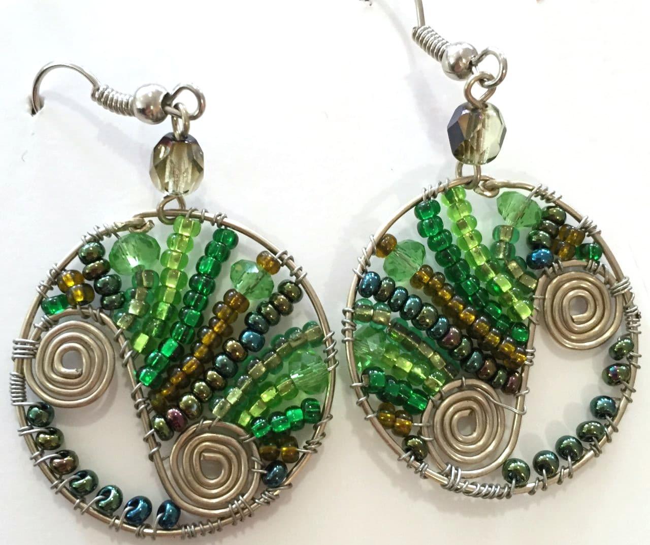 Flowing Spiral Circle Earrings - Greens