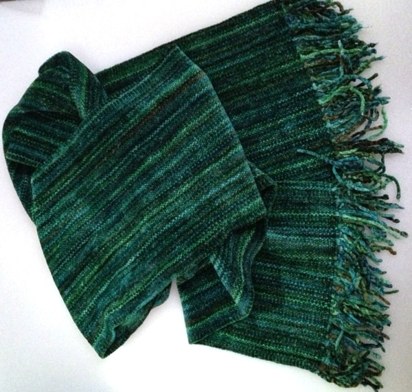 Green Micro Stripes - Bamboo Chenille Handwoven Scarf 8 x 68