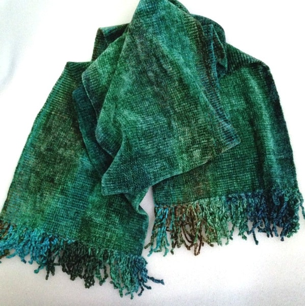 Greens, Blue, Coffee - Bamboo Chenille Handwoven Scarf 8 x 68