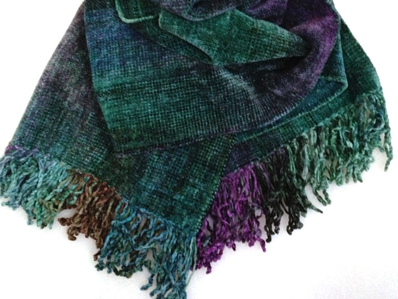 Green, Purple, Blue - Bamboo Chenille Handwoven Scarf 8 x 68