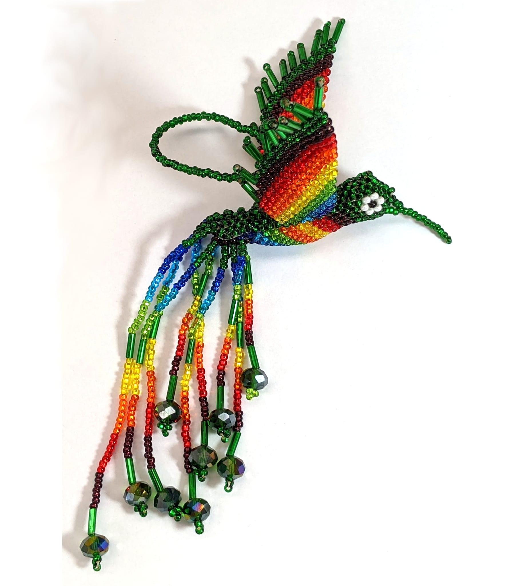 Hummingbird Beaded Ornament - Rainbow with Deep Green