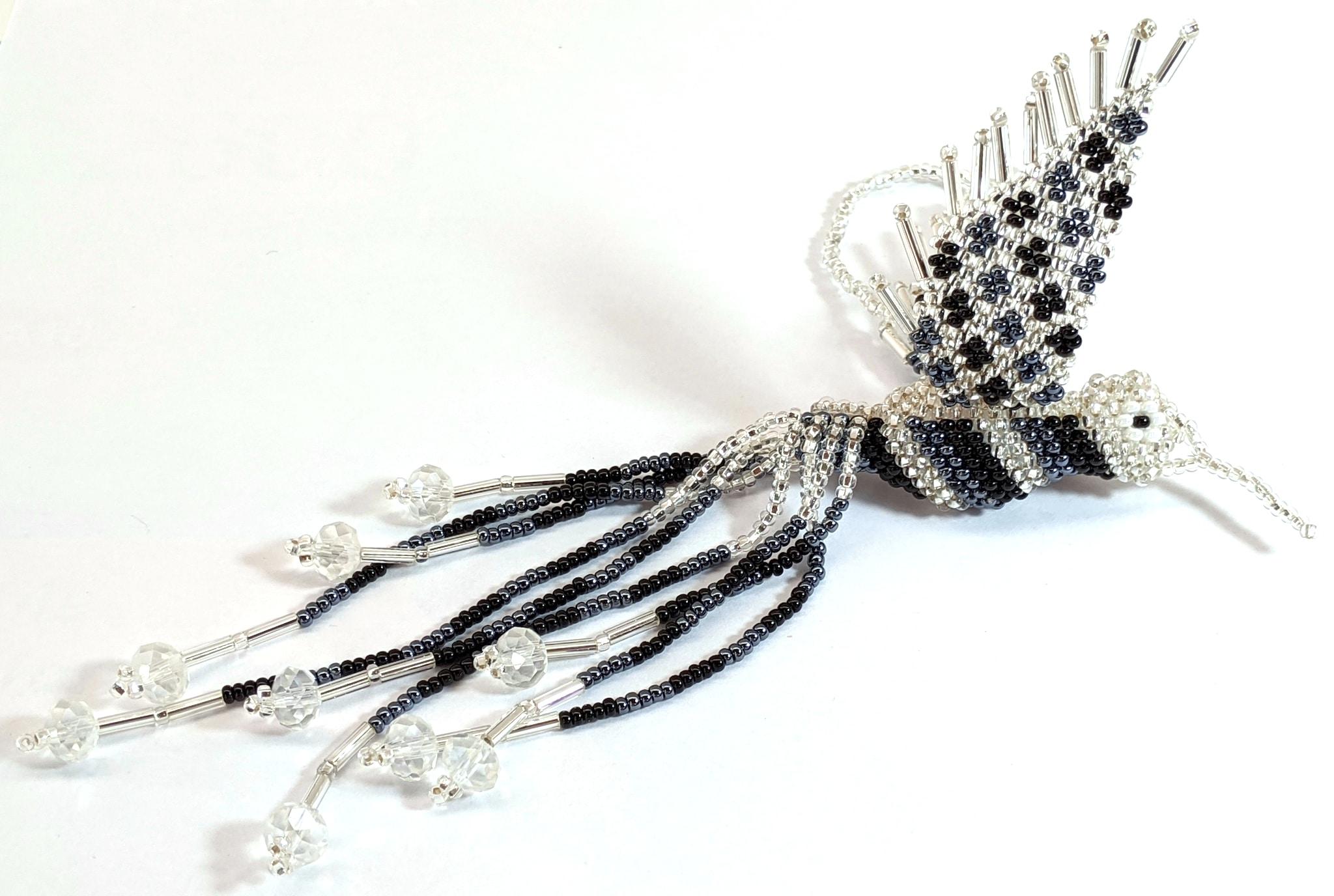 Hummingbird Beaded Ornament - Black, Hematite Gray, and Silver White