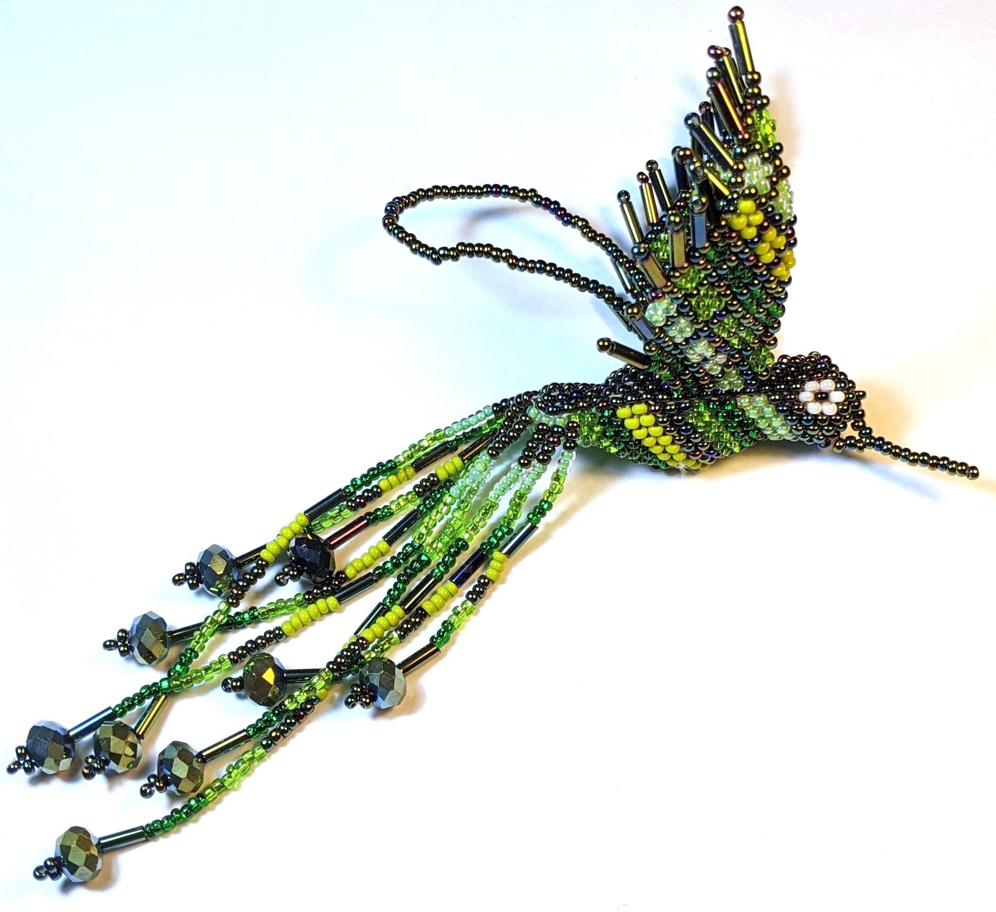 Hummingbird Beaded Ornament - Greens and Iridescent Green