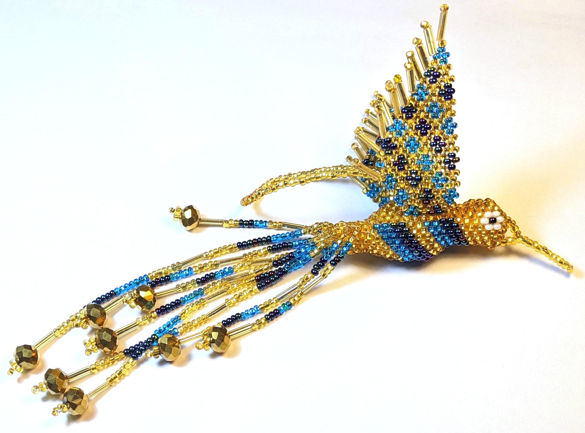 Hummingbird Beaded Ornament - Celestial Blue, Iridescent Blue, and Light Gold