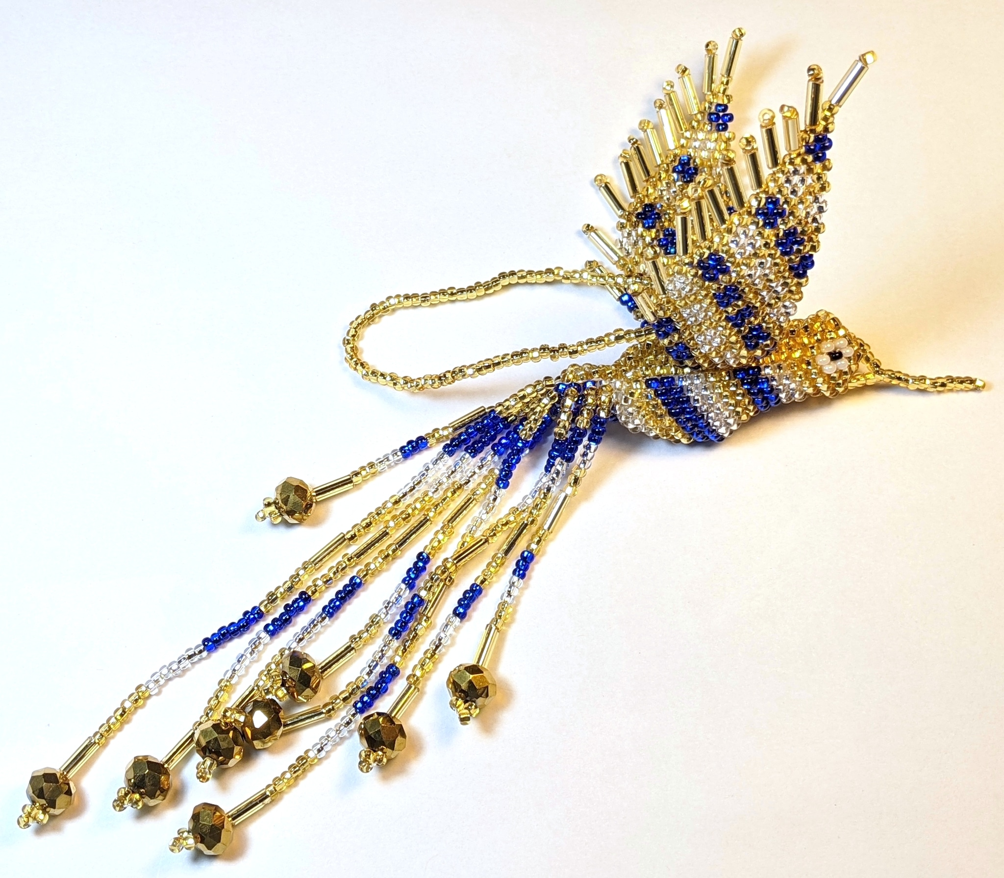 Hummingbird Beaded Ornament - Sapphire Blue, Light Gold, and Silver White
