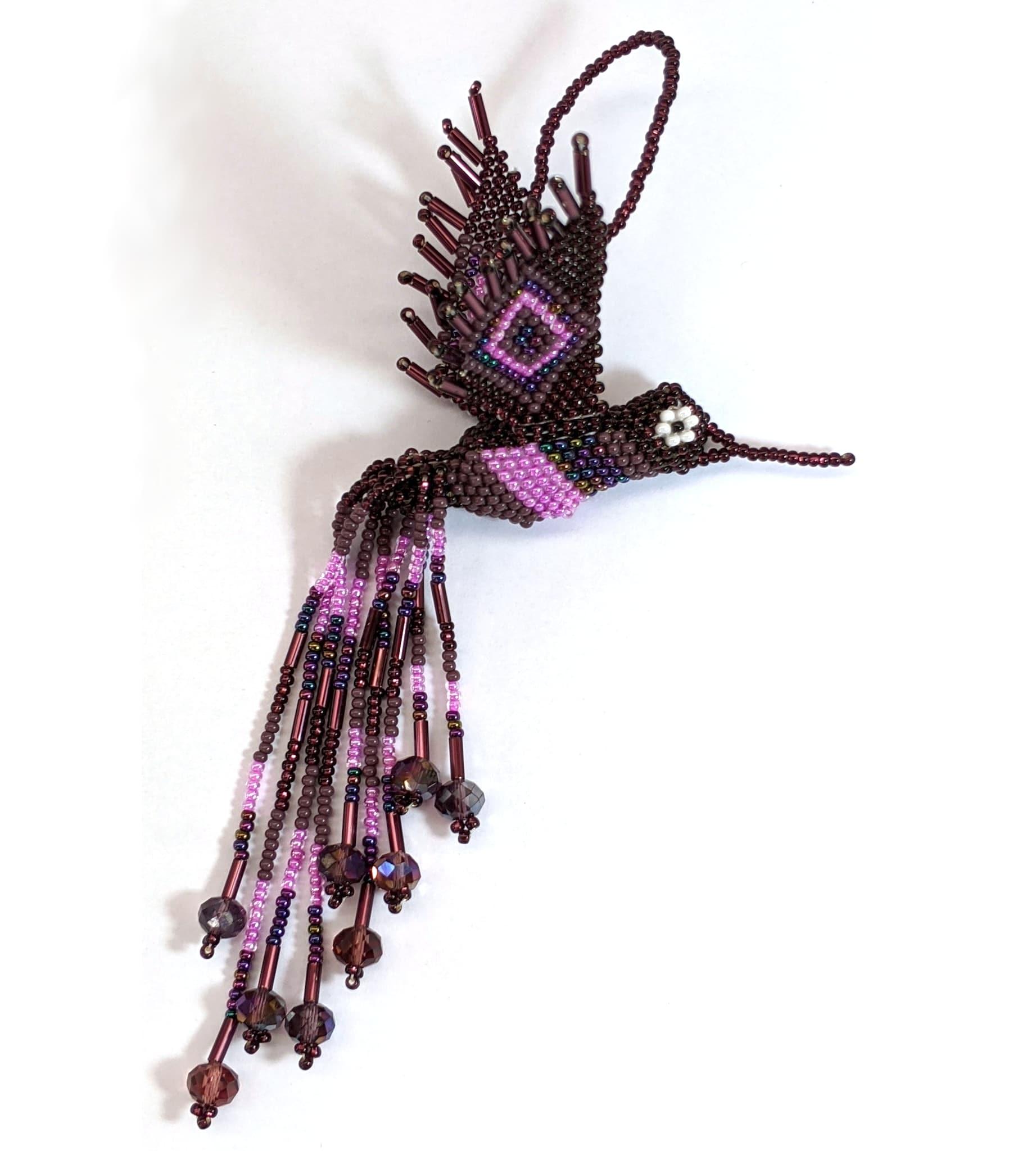 Hummingbird Beaded Ornament - Purples
