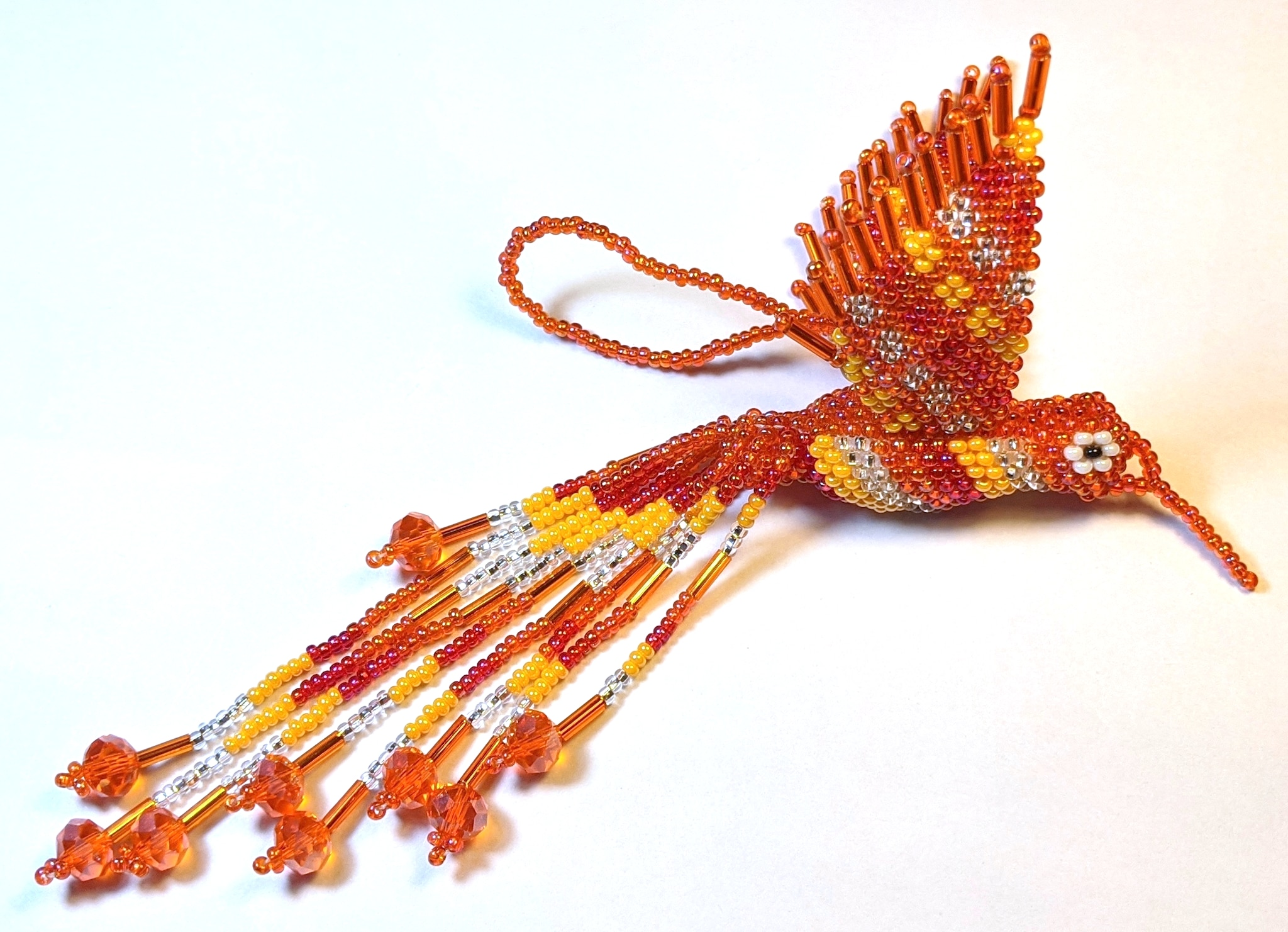 Hummingbird Beaded Ornament - Oranges and Silver White