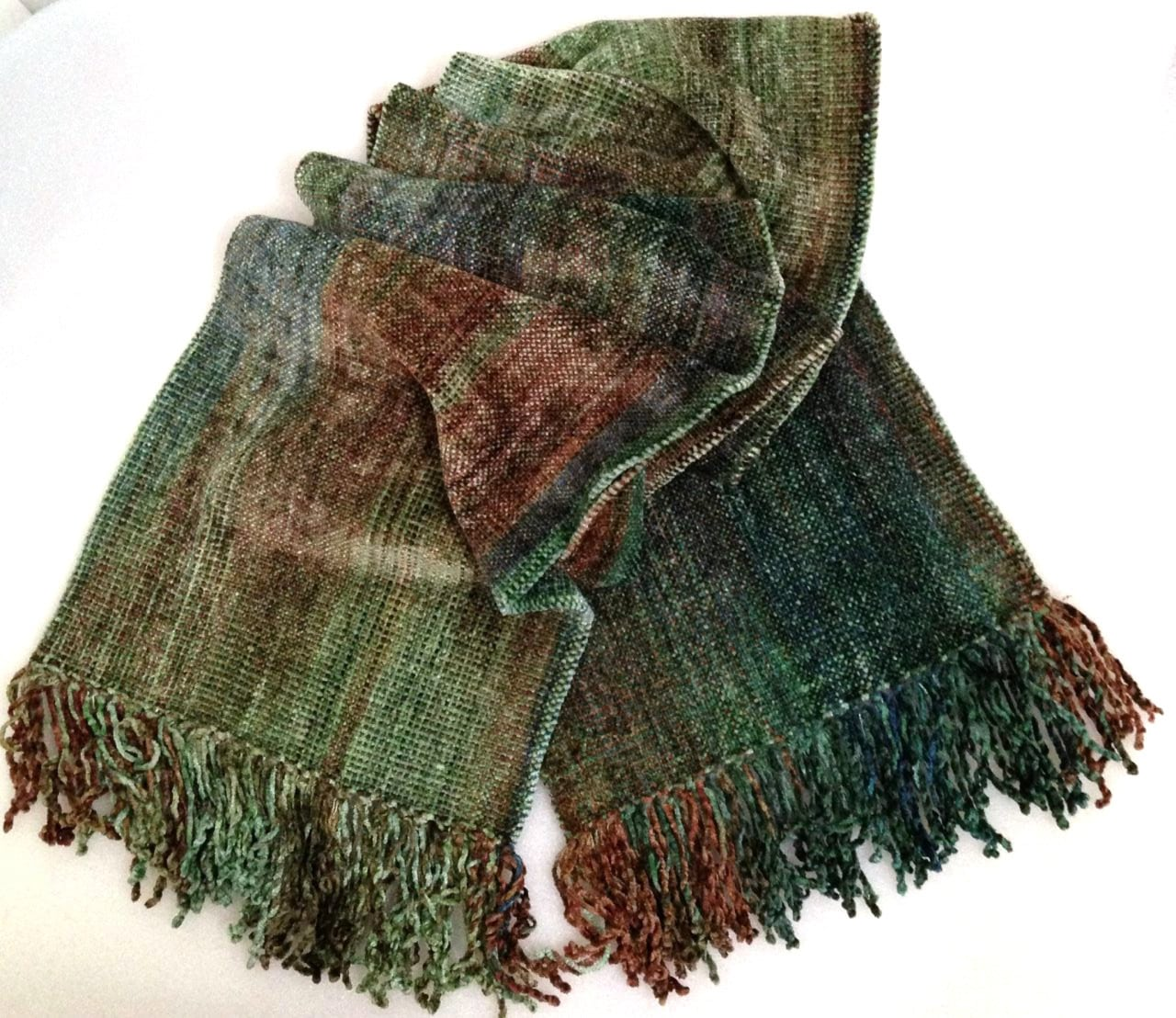Greens, Brown, Copper - Bamboo Chenille Handwoven Scarf 8 x 68