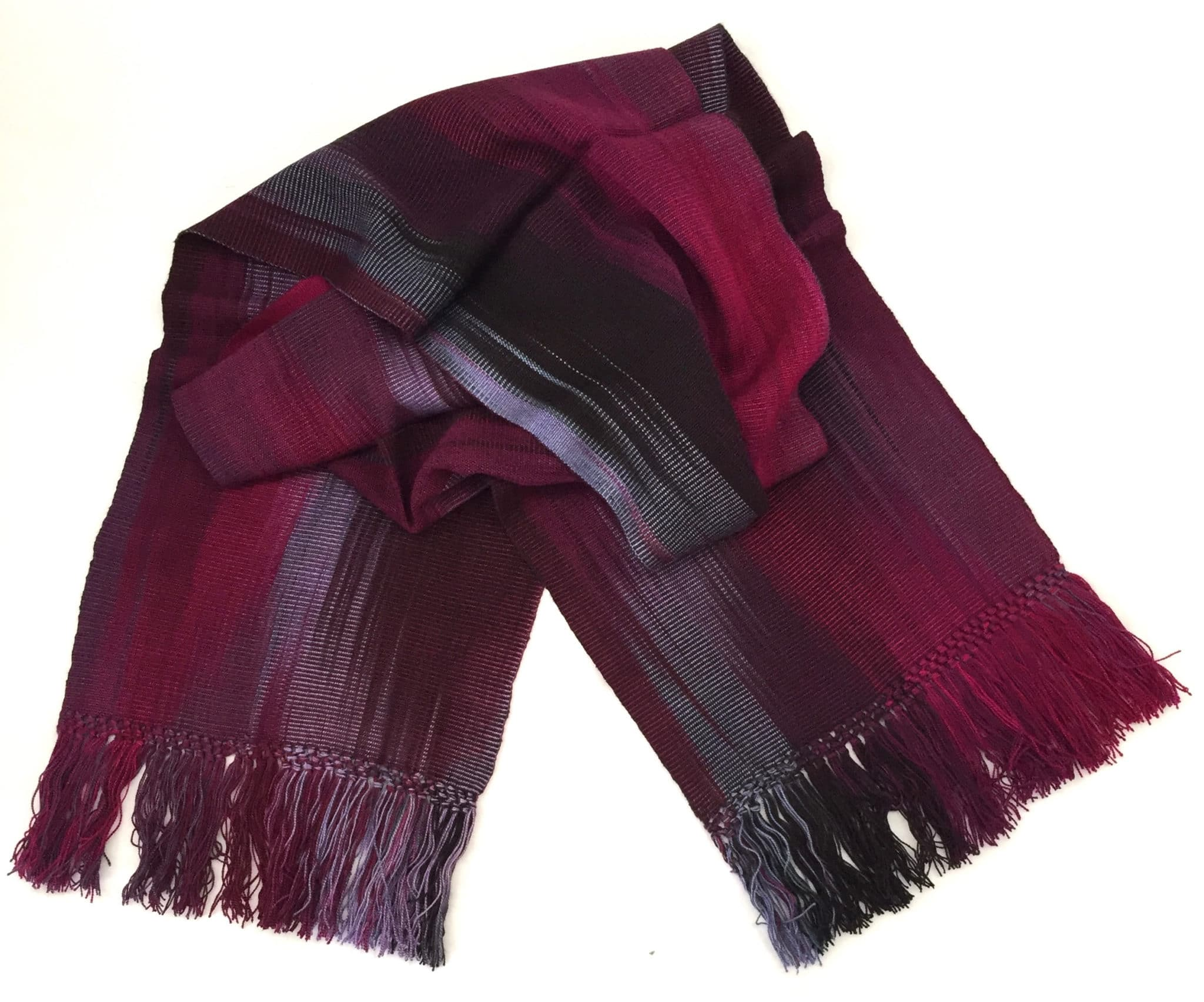 Magenta, Light Violet, Black - Lightweight Bamboo Handwoven Scarf 8 x 68