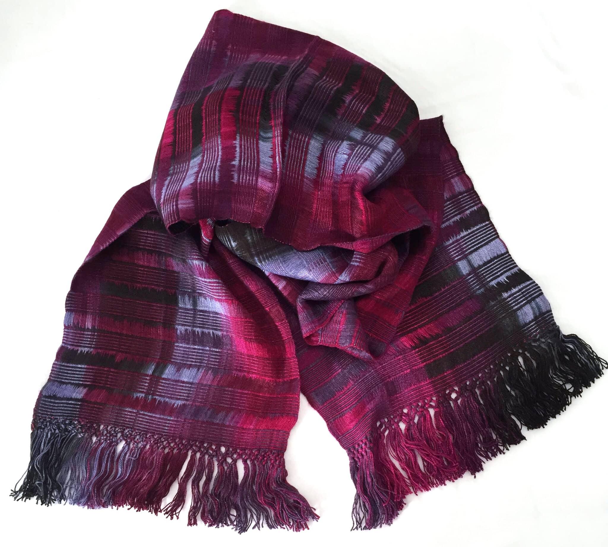 Magenta, Light Violet, Black - Lightweight Bamboo Open-Weave Handwoven Scarf 8 x 68