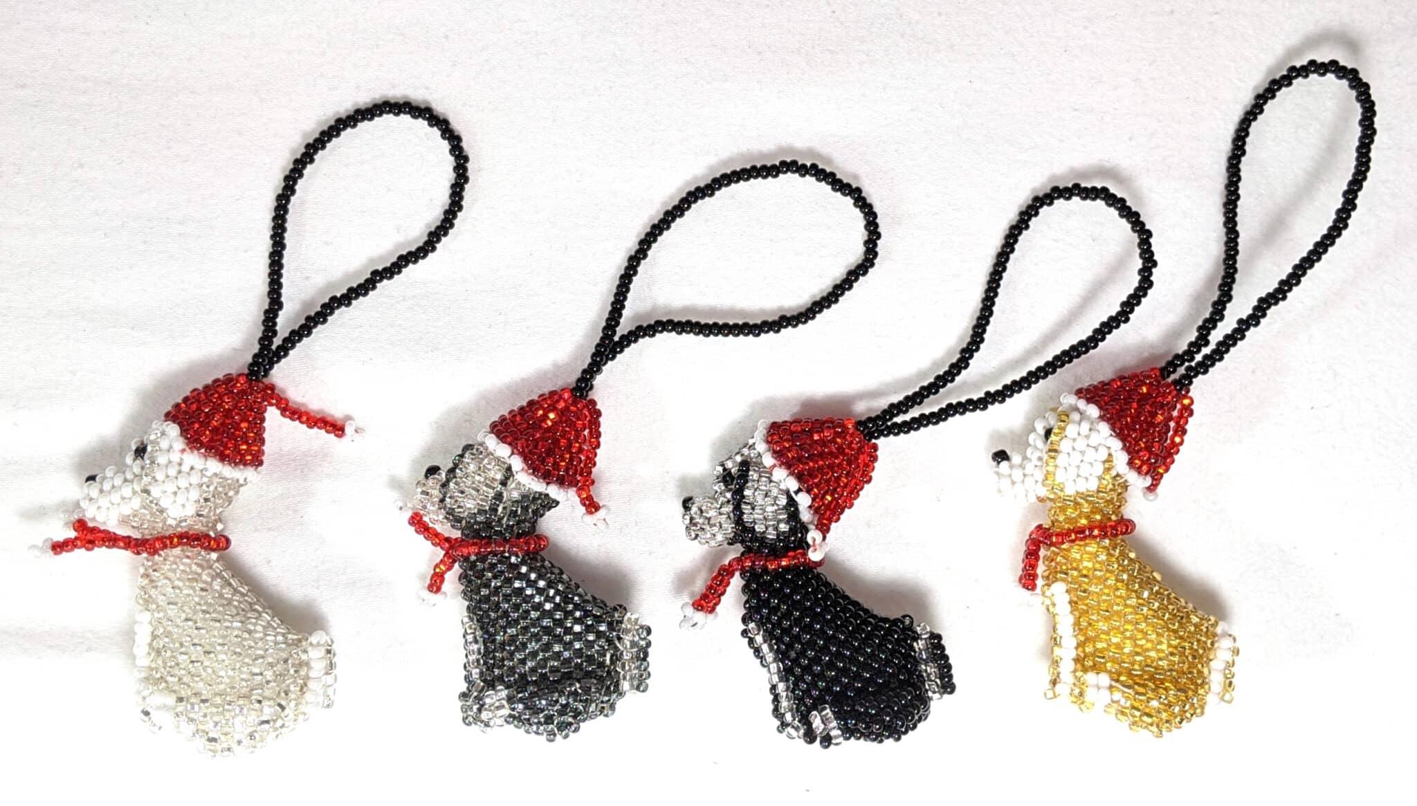 Dog Beaded Ornament - Christmas