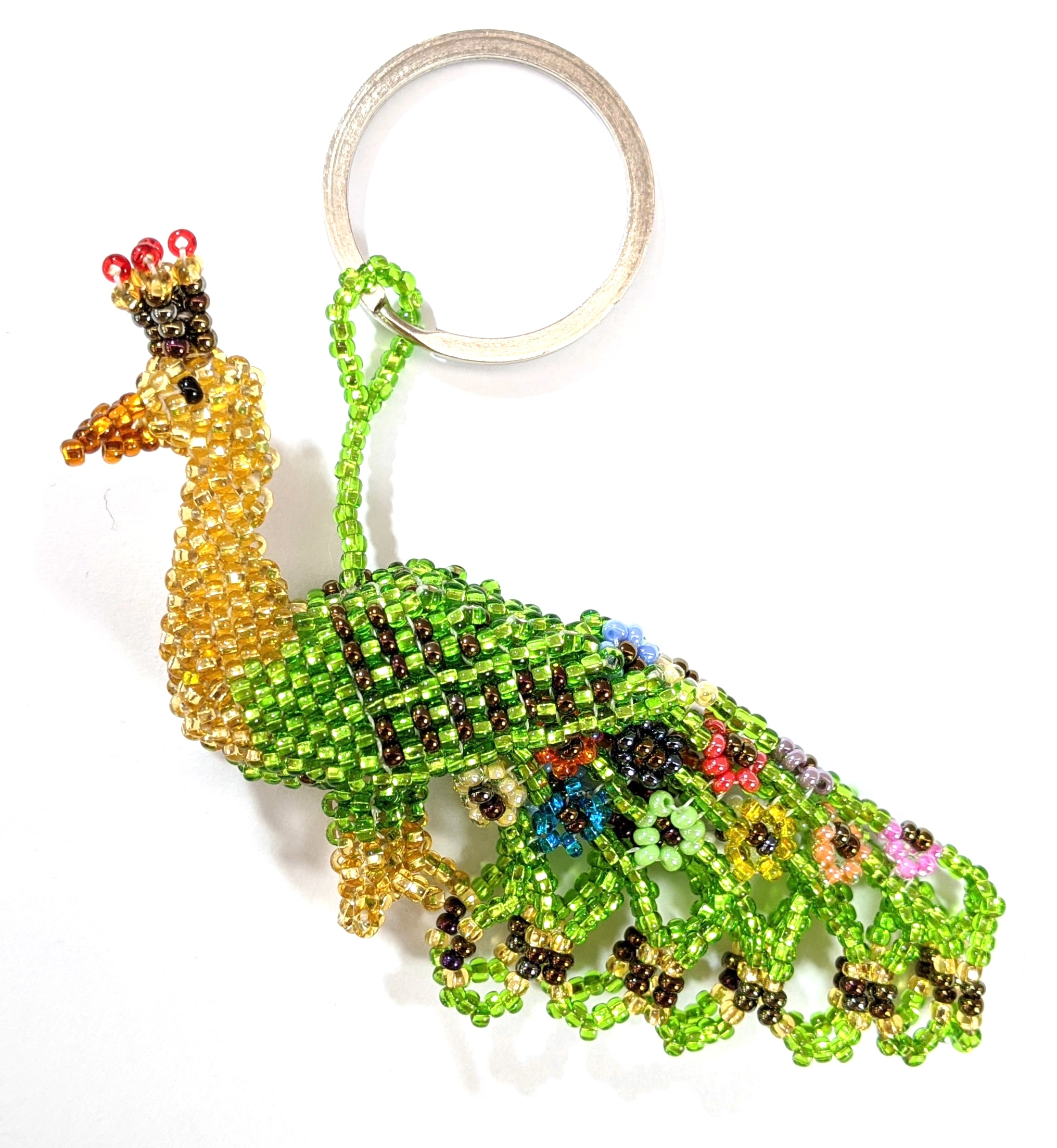 Peacock Beaded Ornament - Gold and Lime