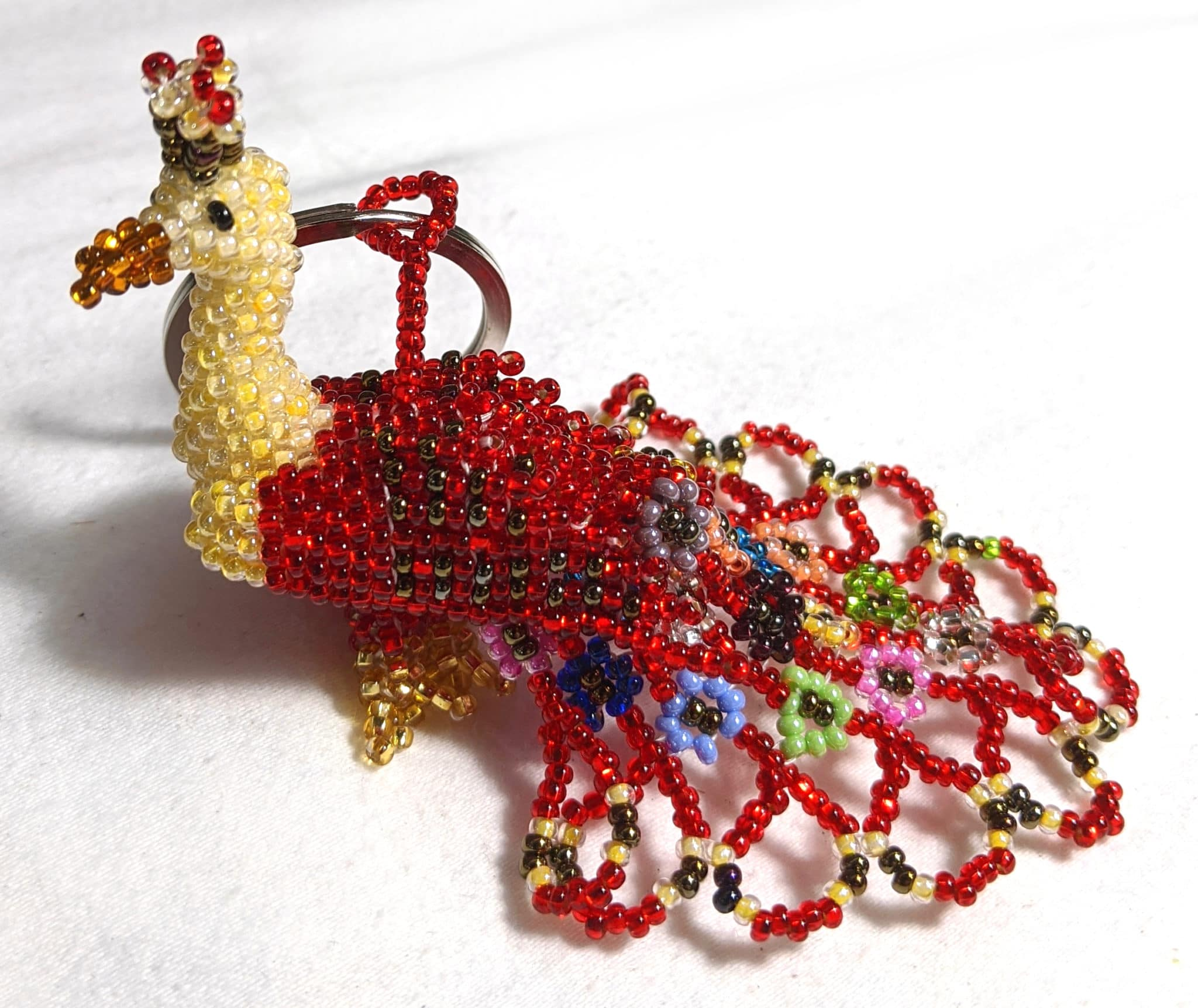 Peacock Beaded Ornament - Red