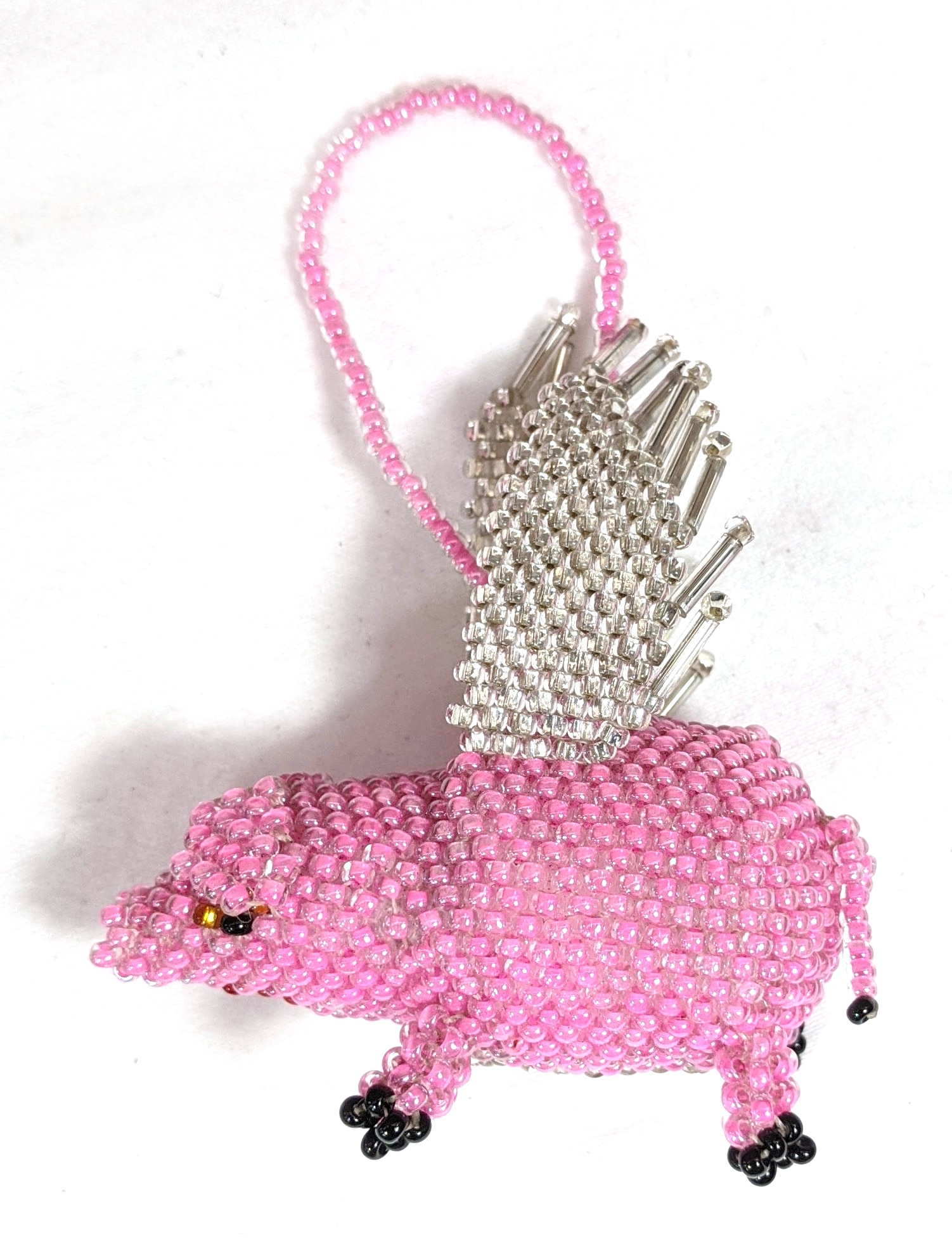 Pig with Wings Beaded Ornament - Long Pink