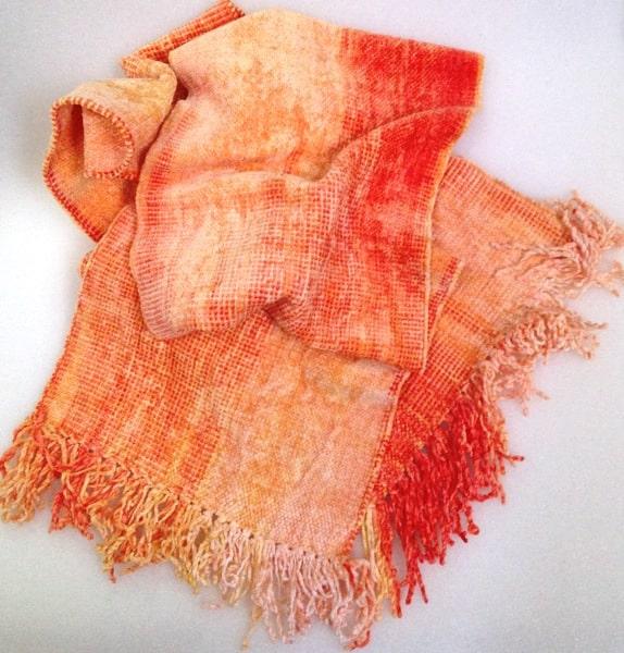 Orange, Peach, Yellow - Bamboo Chenille Handwoven Scarf 8 x 68