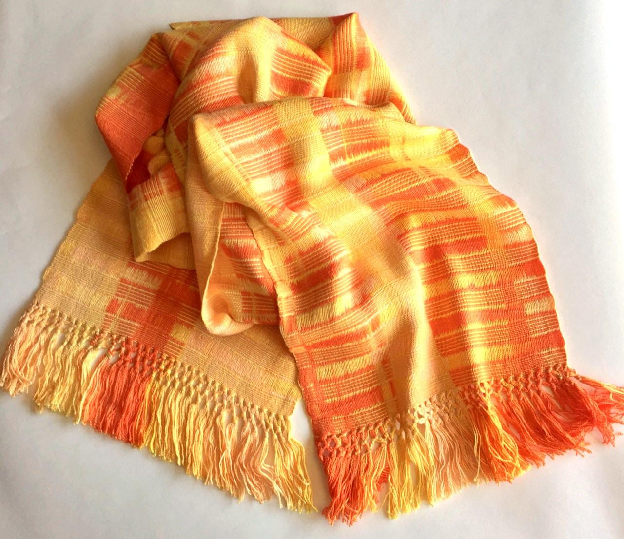 Orange, Peach, Yellow - Lightweight Bamboo Open-Weave Handwoven Scarf, 8 x 68