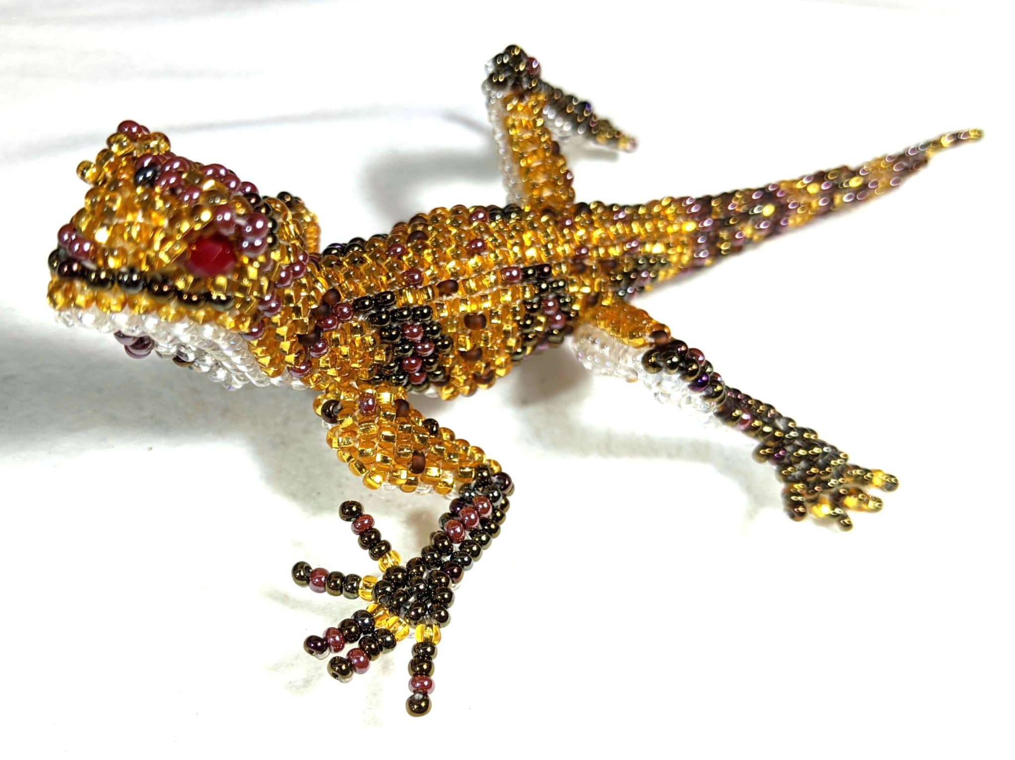 Gecko Beaded Pin - Golds