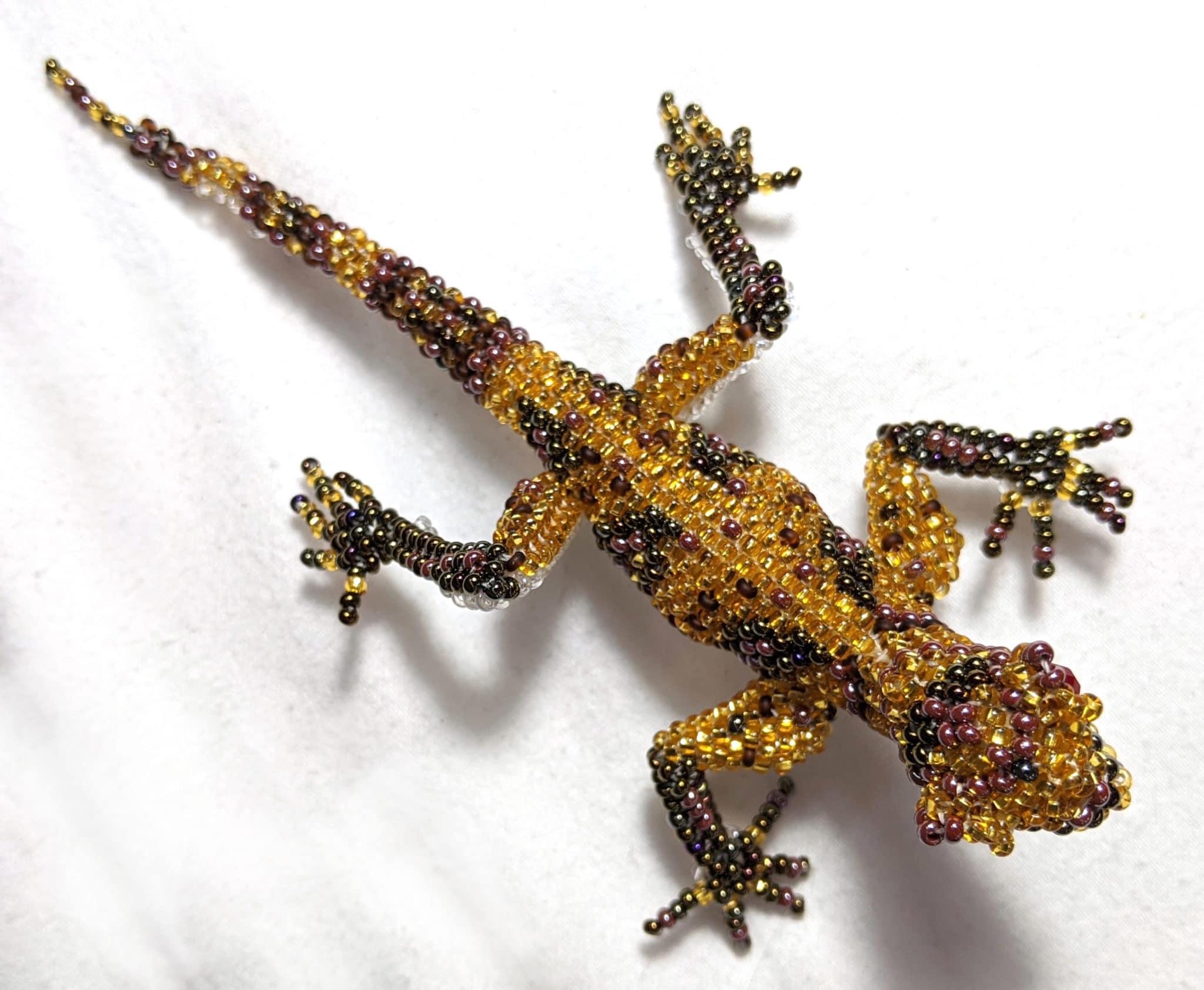 Gecko Beaded Pin - Golds