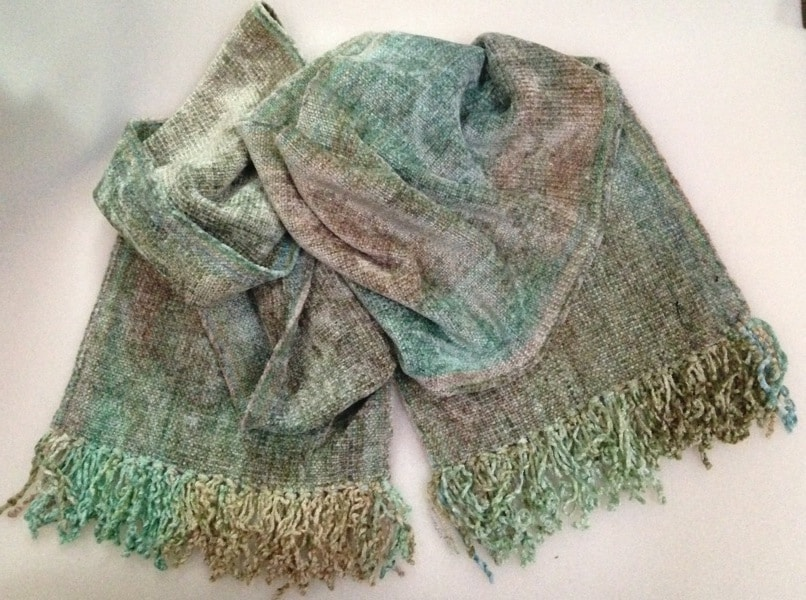 Pale Greens, Beige - Bamboo Chenille Handwoven Scarf 8 x 68