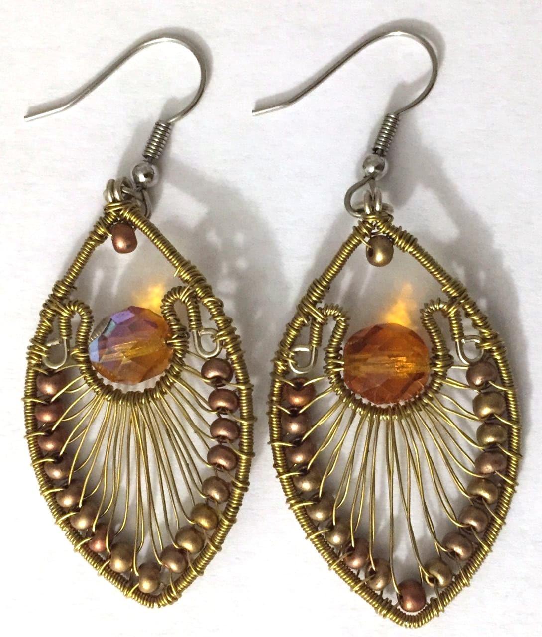 Peacock Earrings - Gold