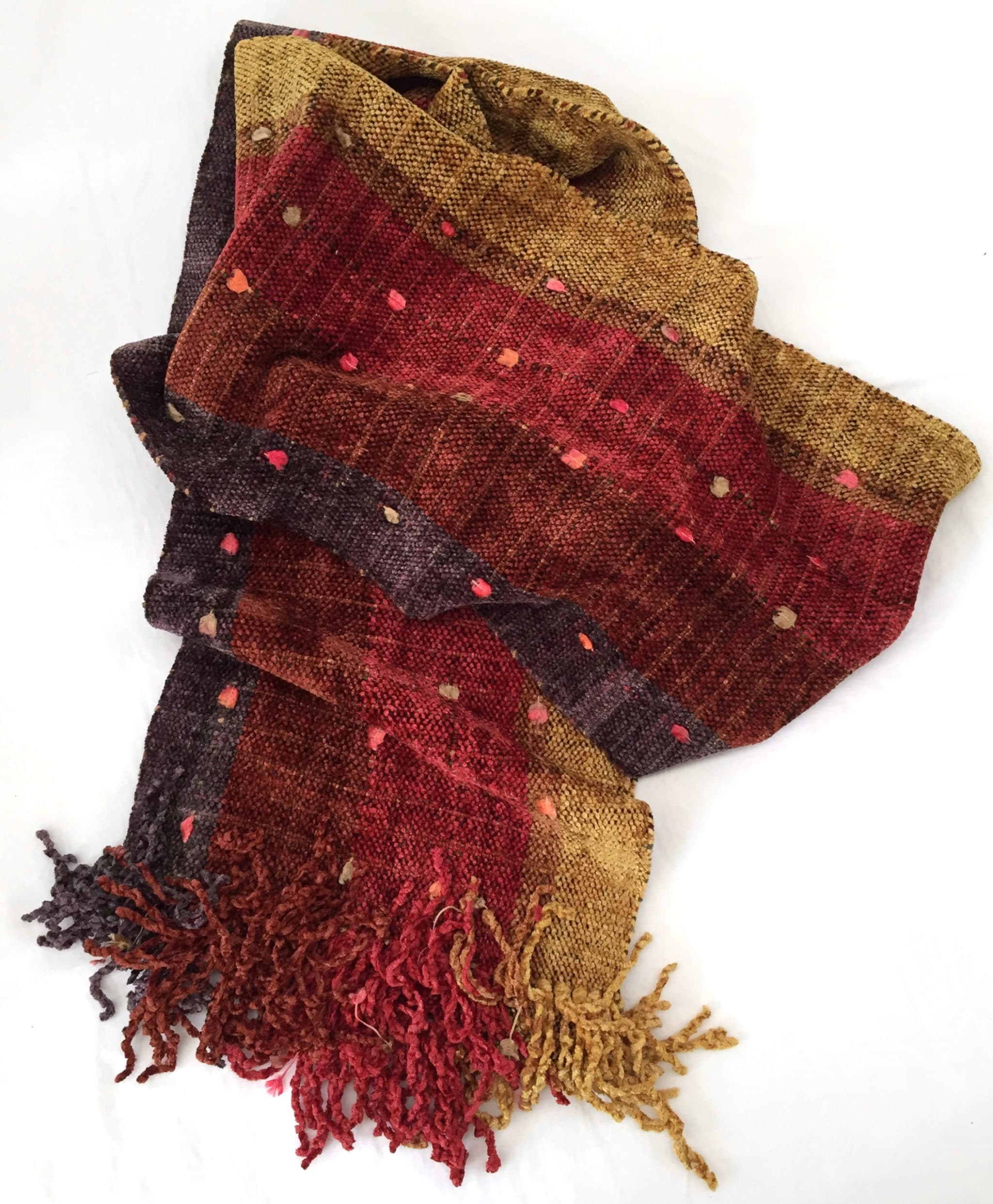Purple, Cinnamon, Red, Coffee, and Gold Stripes with Ornamental Yarn and Space-Dyed Autumn Warp  - Bamboo Chenille Handwoven Scarf 8 x 68
