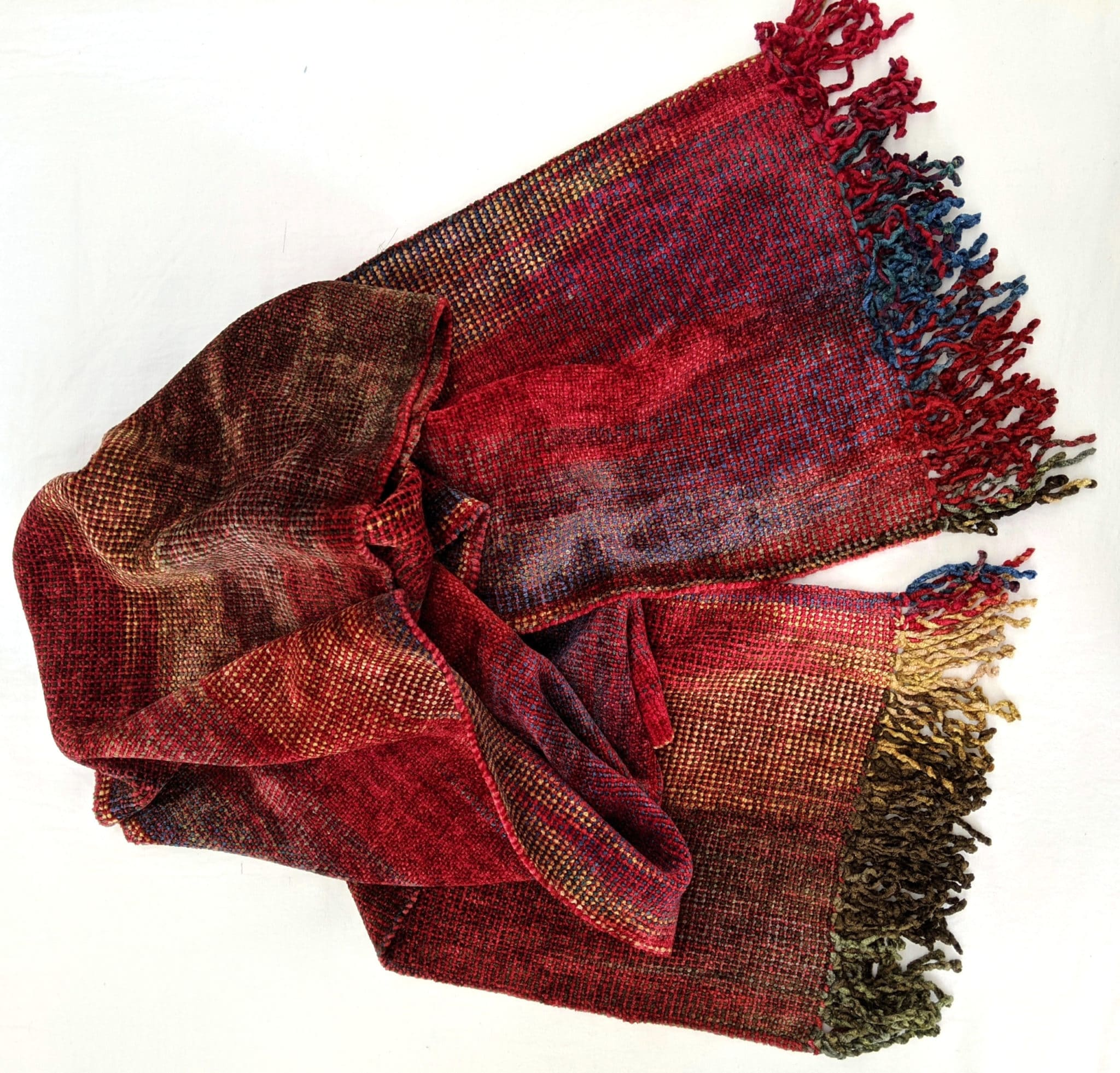 Red, Blue, Cream, Brown - Bamboo Chenille Handwoven Scarf 8 x 68