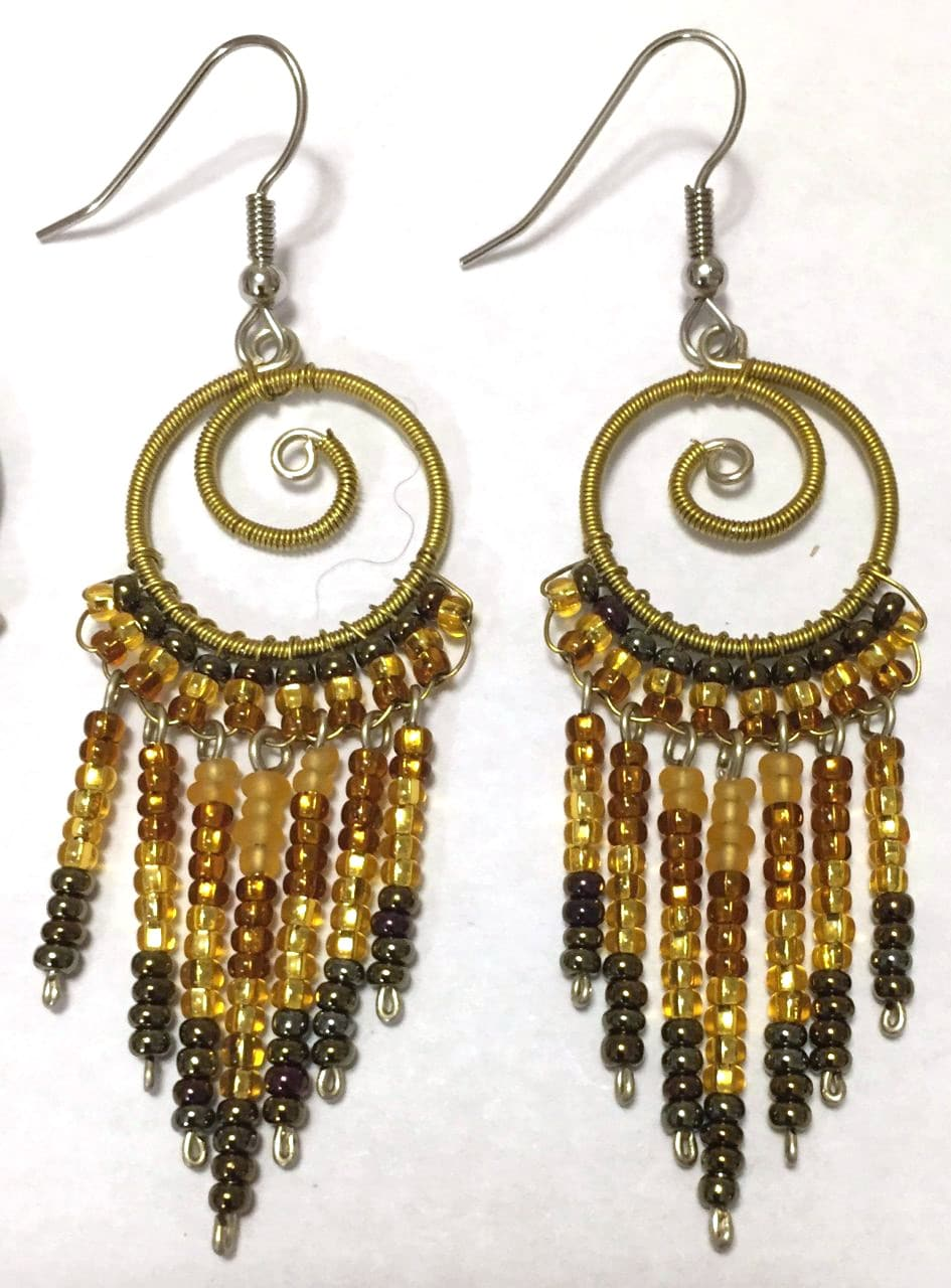 Spiral Fringe Earrings - Golds