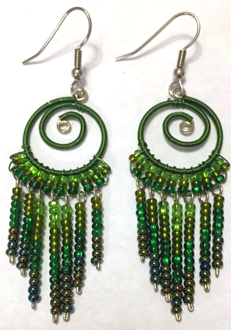 Spiral Fringe Earrings - Greens
