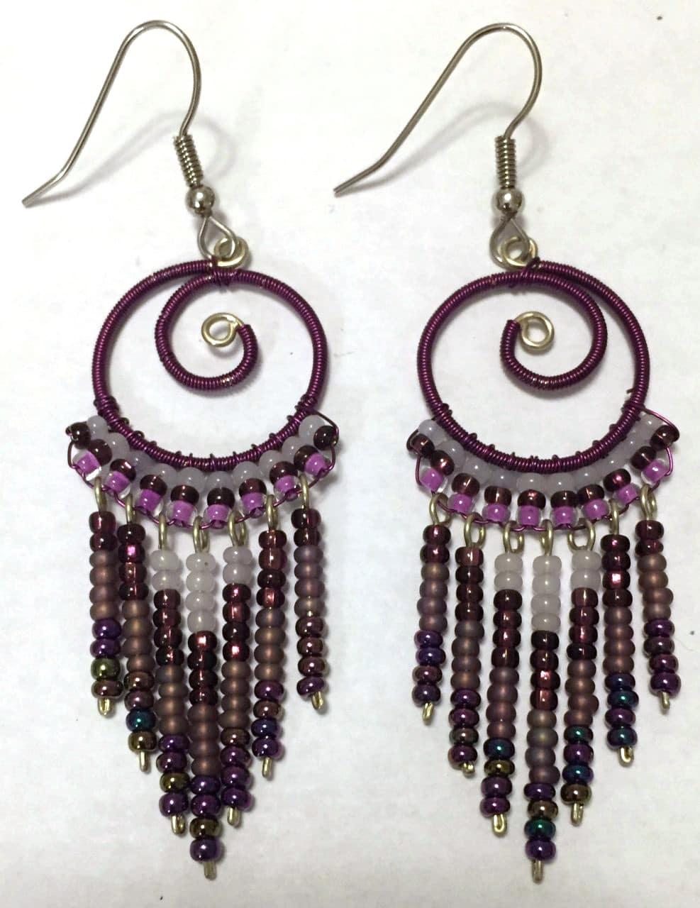 Spiral Fringe Earrings - Purples